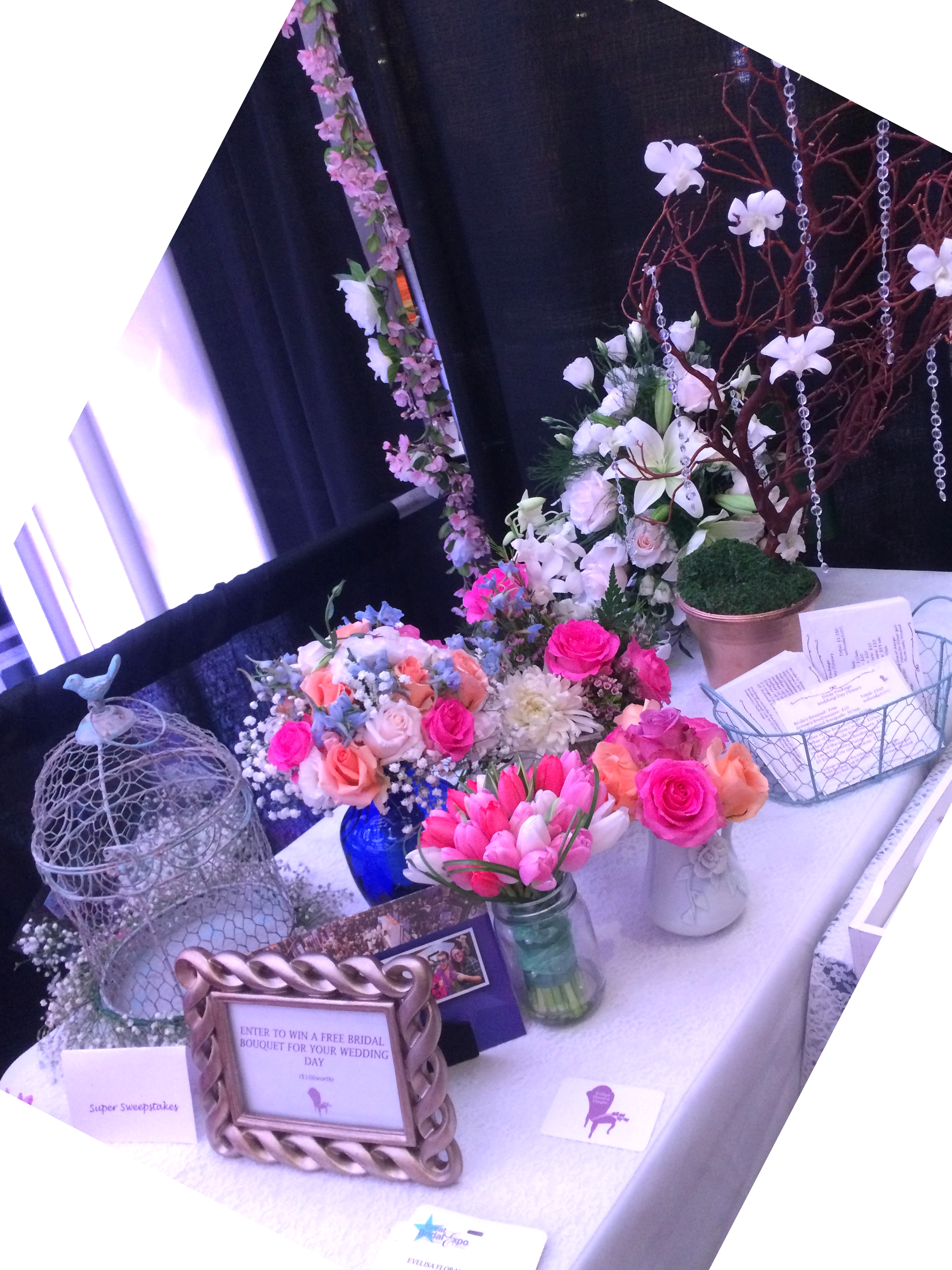 Our Setup with our bouquets in vases to drink water