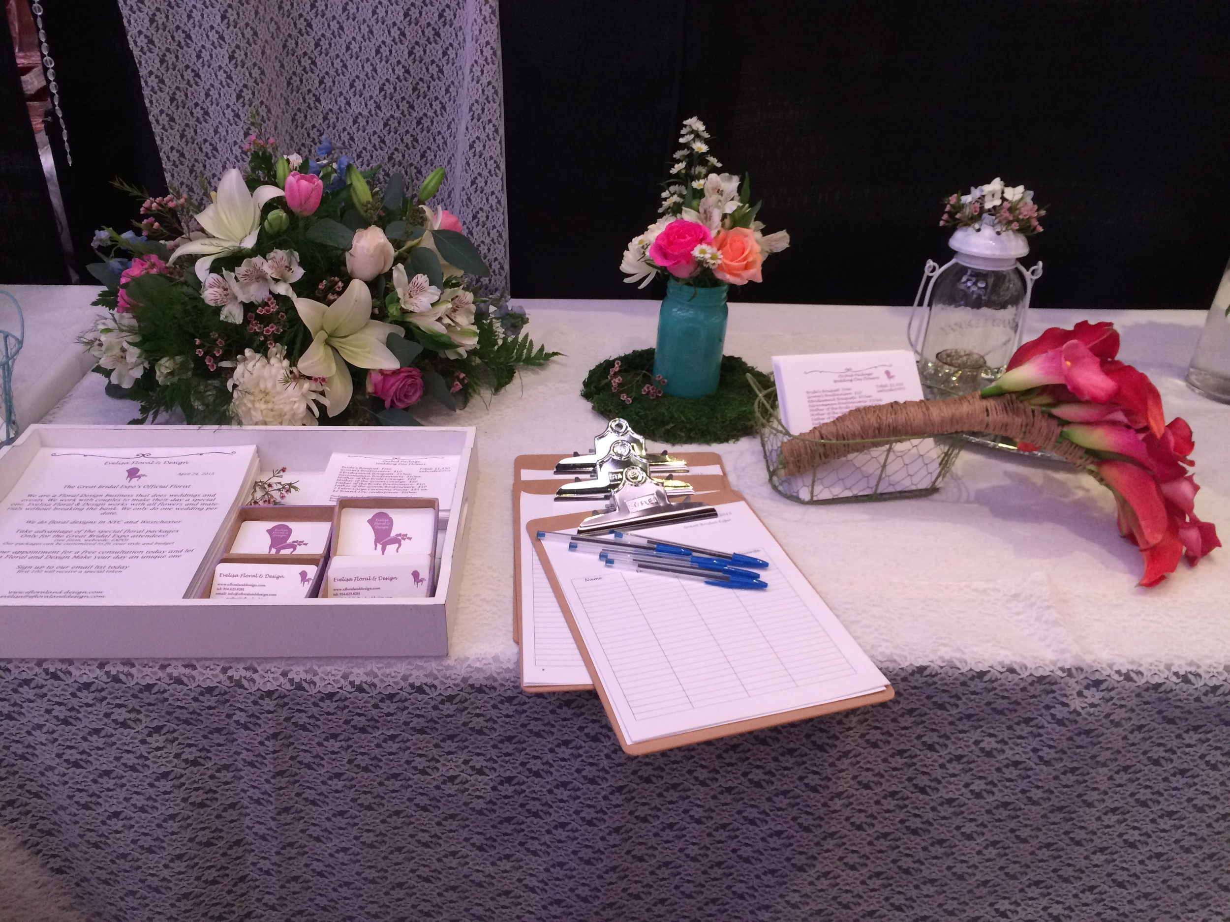 Our setup with all our materials.More bouquets and flowers centerpieces.