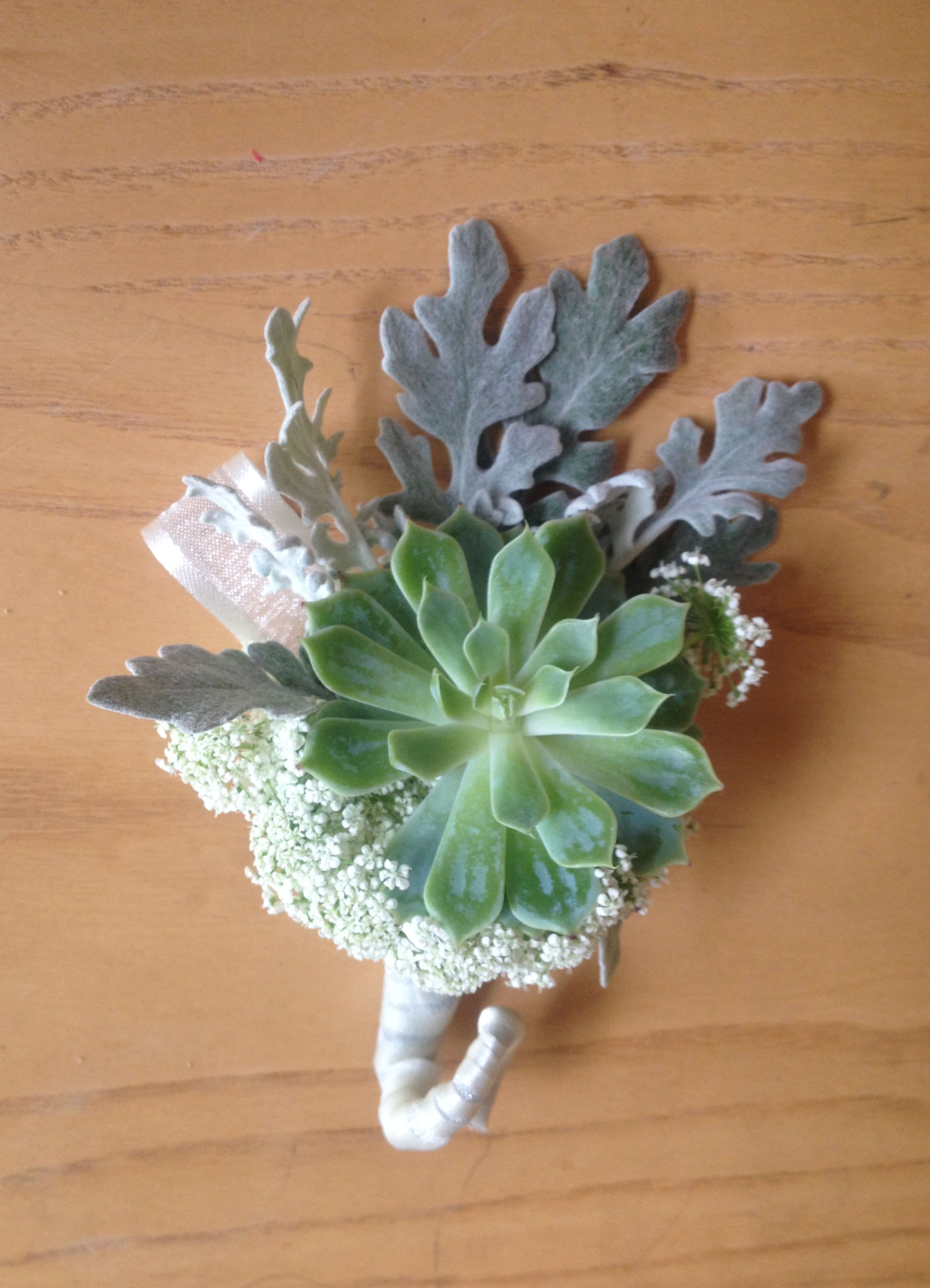 Here's the succulent boutonniere
