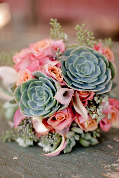 This succulent and flower combo bouquet is BEAUTIFUL