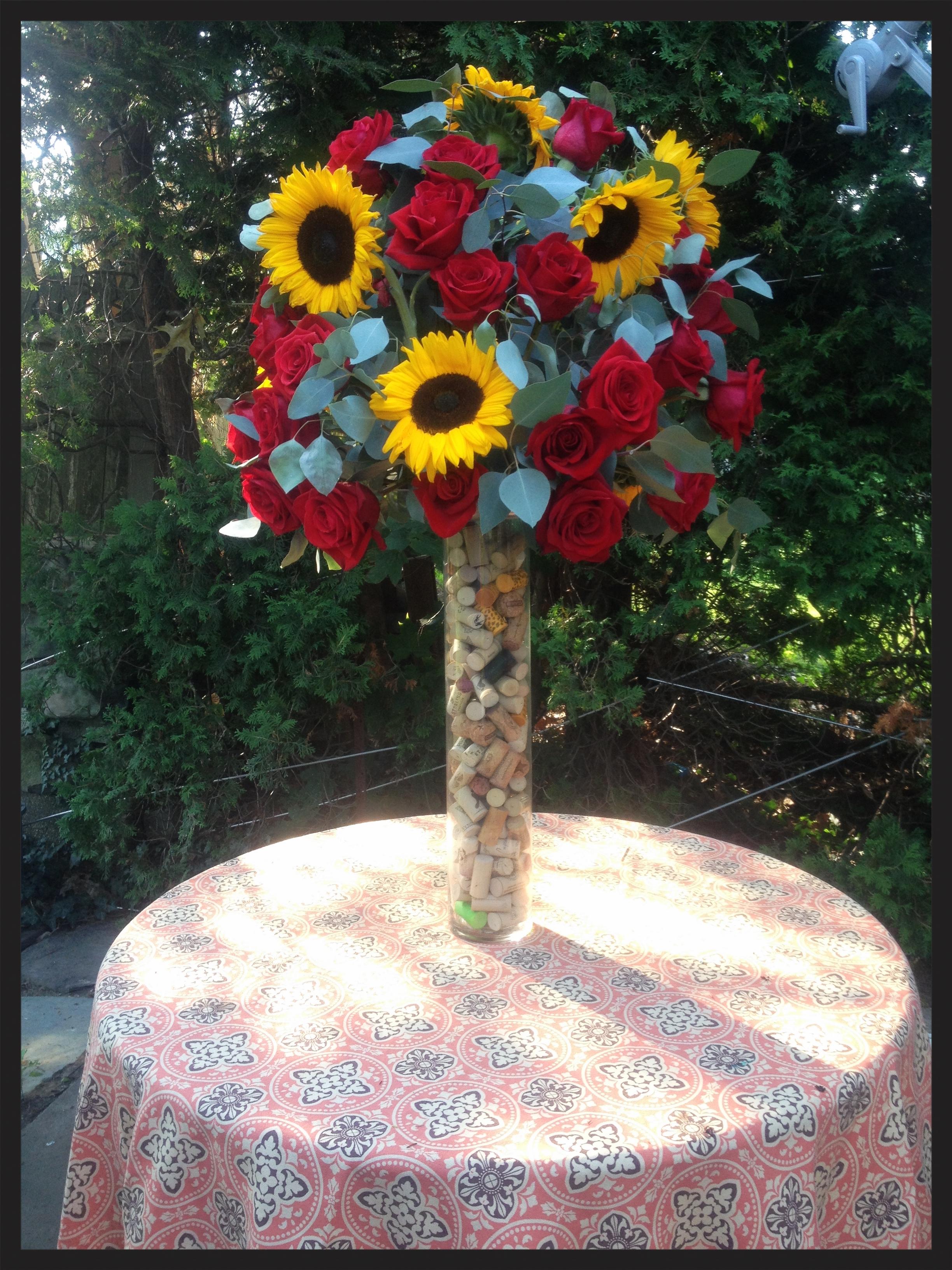 Sunflowers Roses And Wine Corks Evelisa Floral Design Westchester Wedding Florist Westchester Flowers Nyc Wedding Flowers