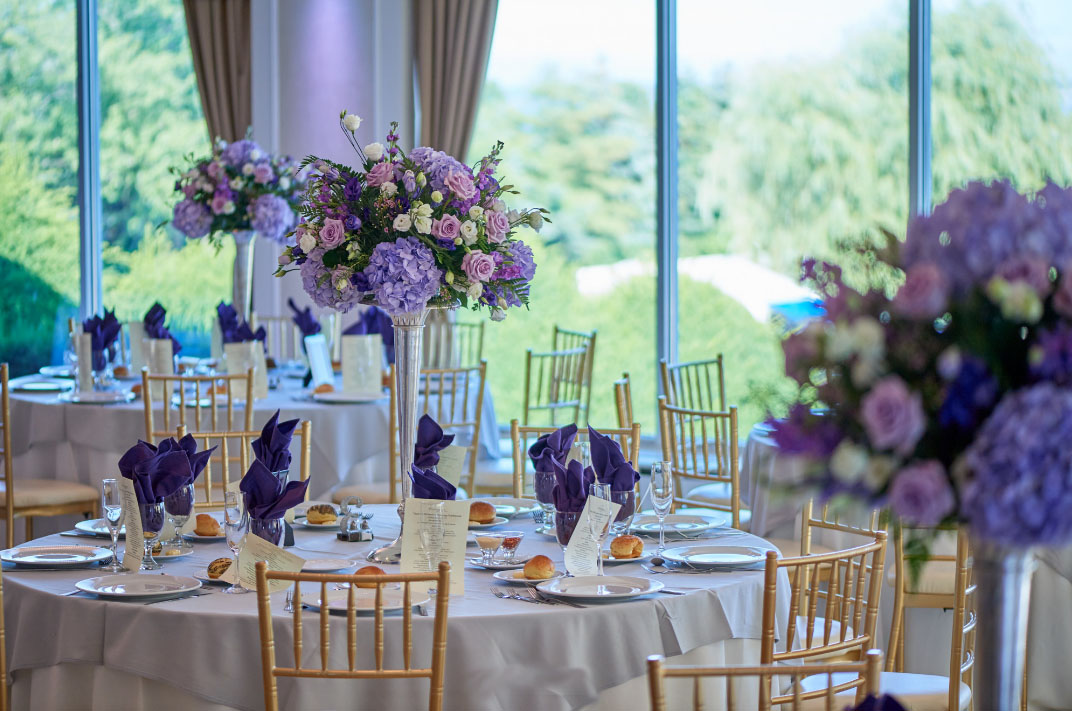 Evelisa Floral & Design | Purple wedding flowers | Davenport Mansion