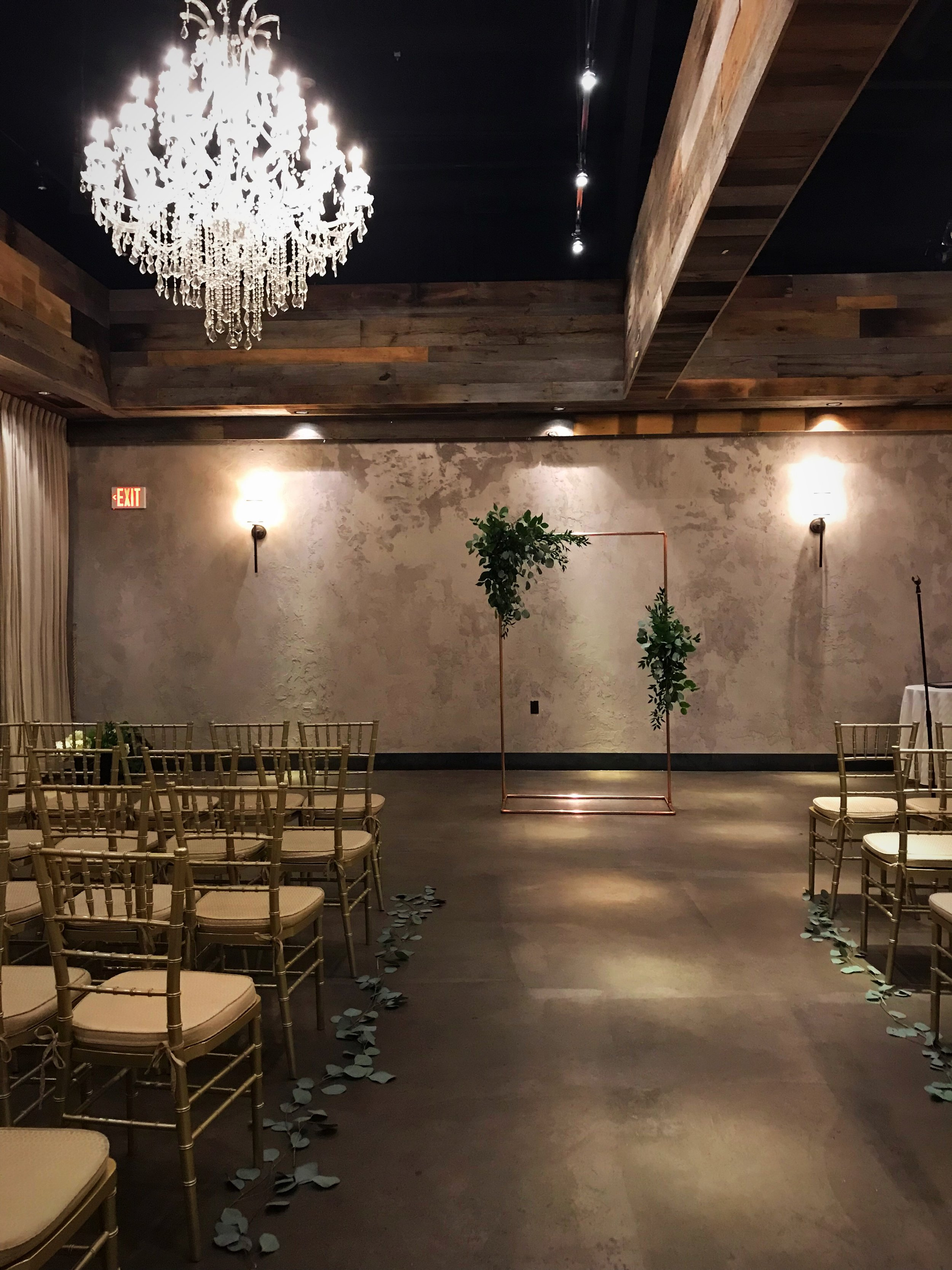 Evelisa Floral & Design | Modern ceremony design | Copper pipe arch | The LOFT