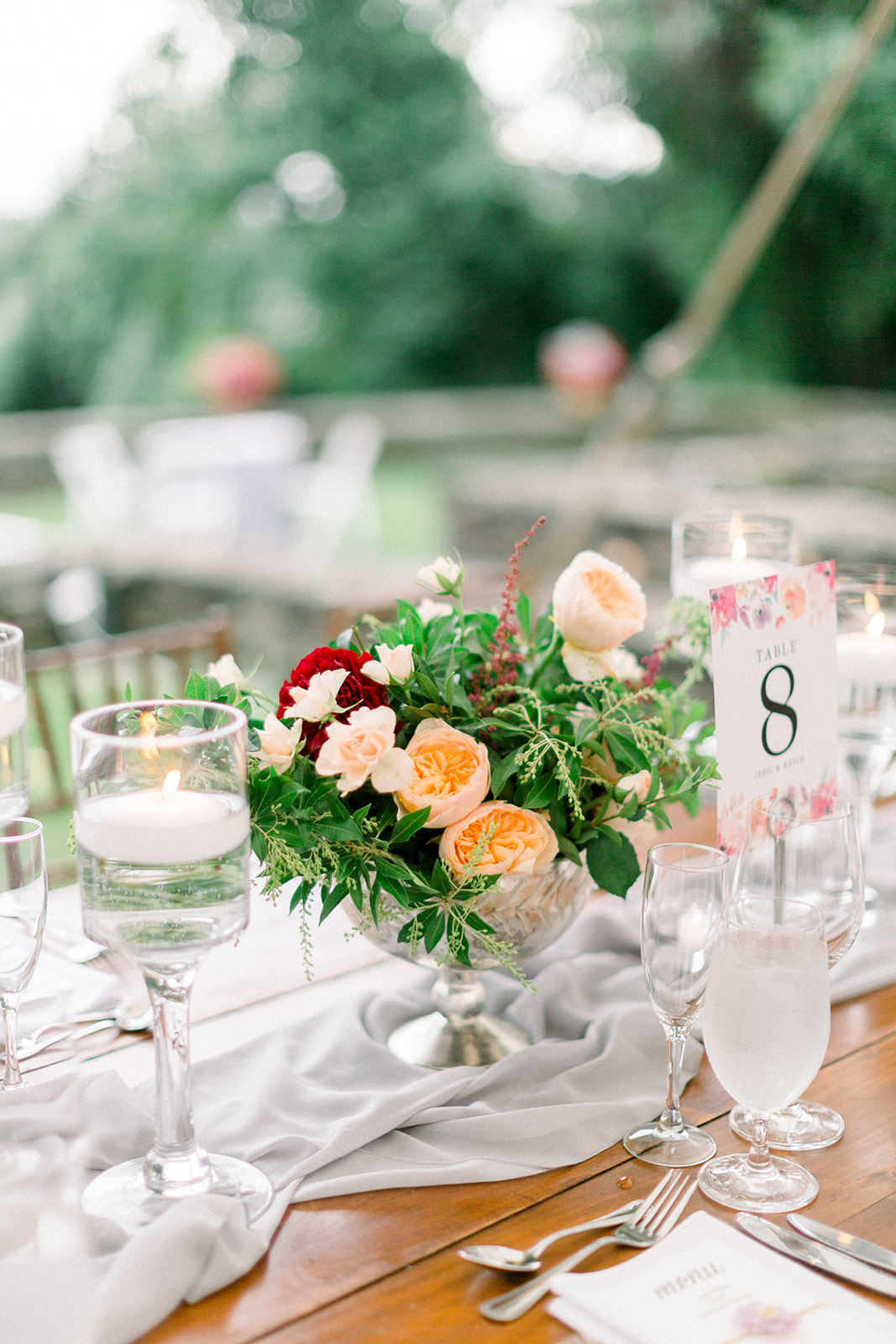 Evelisa Floral & Design | colorful centerpiece | rustic low centerpiece | Buttermilk Falls & Inn