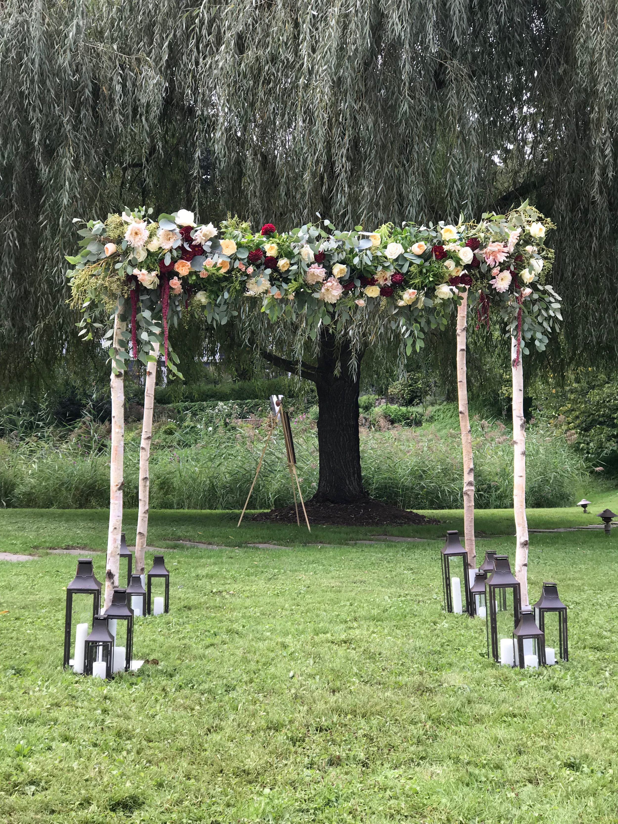 Evelisa Floral & Design | Birch wood chuppah |