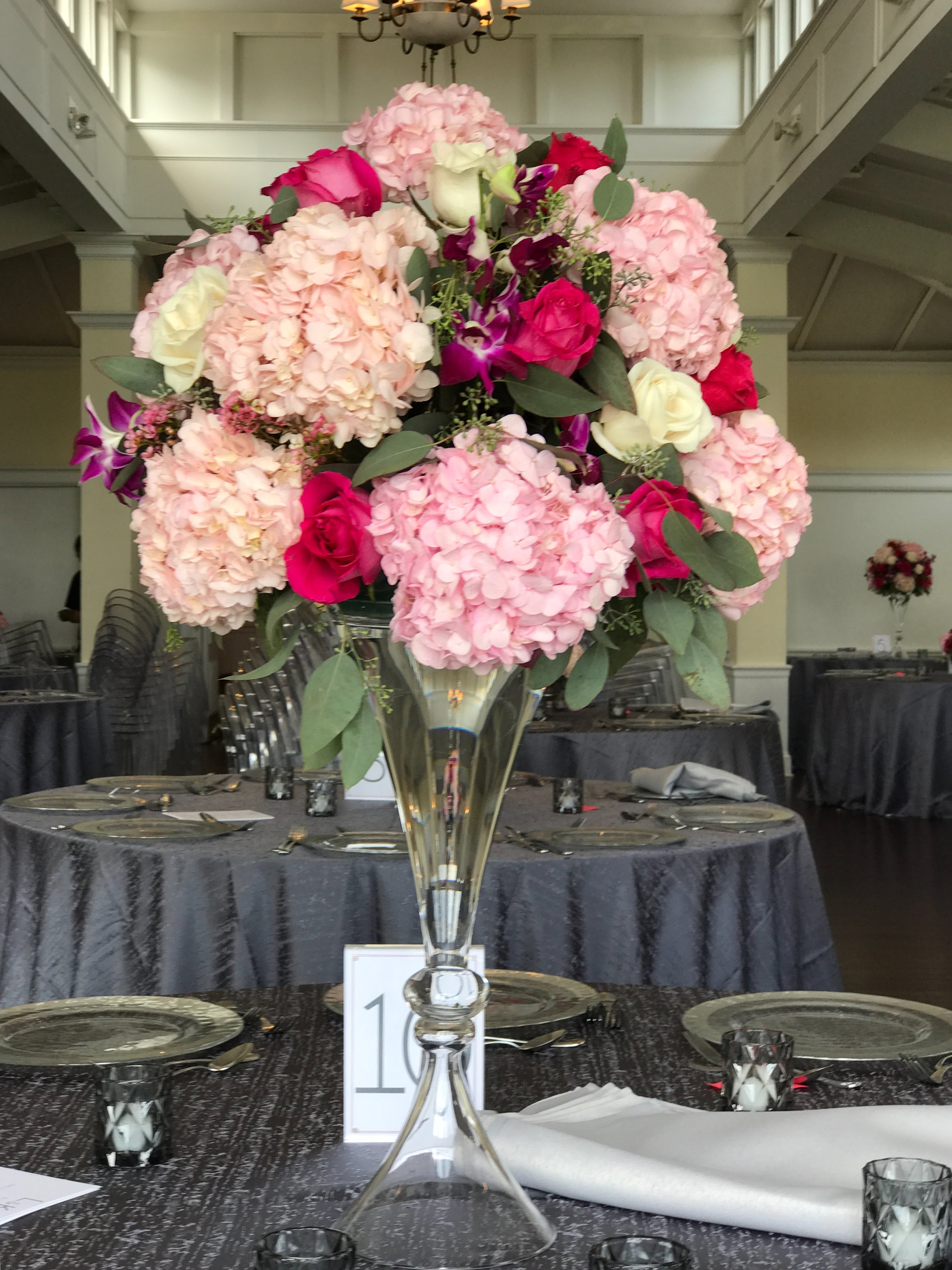 Evelisa Floral & Design_ tall centerpiece_ magenta.JPG