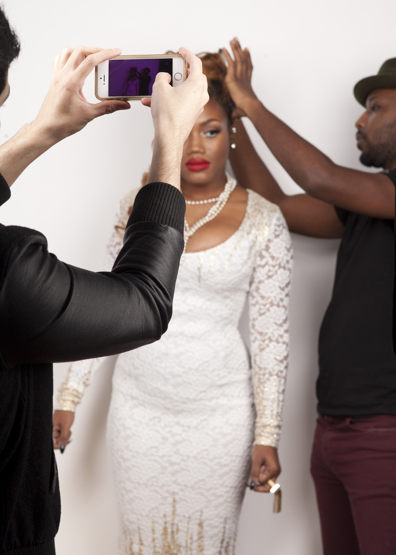 Keda and the team during her promotional photography shoot.