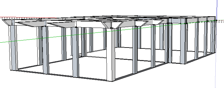 Reinforced concrete frame formed by wall panels and slab form system.