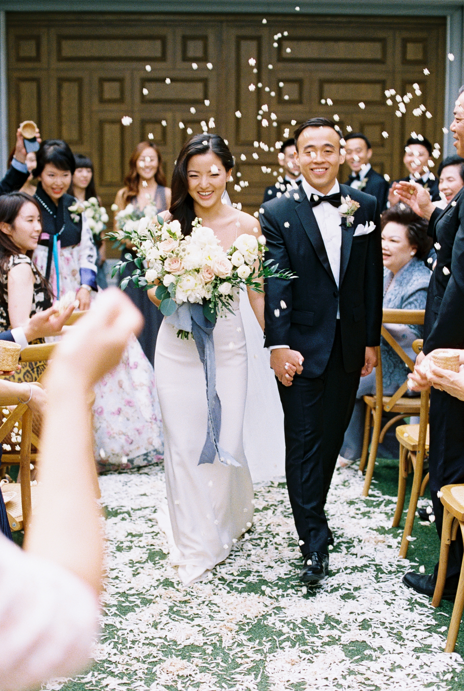 wedding recessional with flower petals