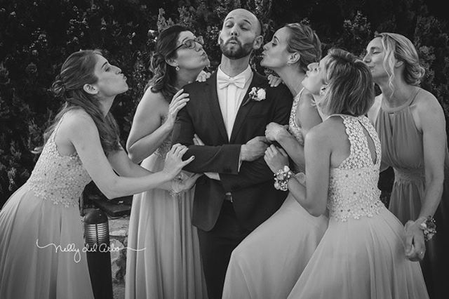 Groom and bridesmaids.  #destinationweddings #groom #bridesmaids #weddingsinspain #havingfun #funphoto