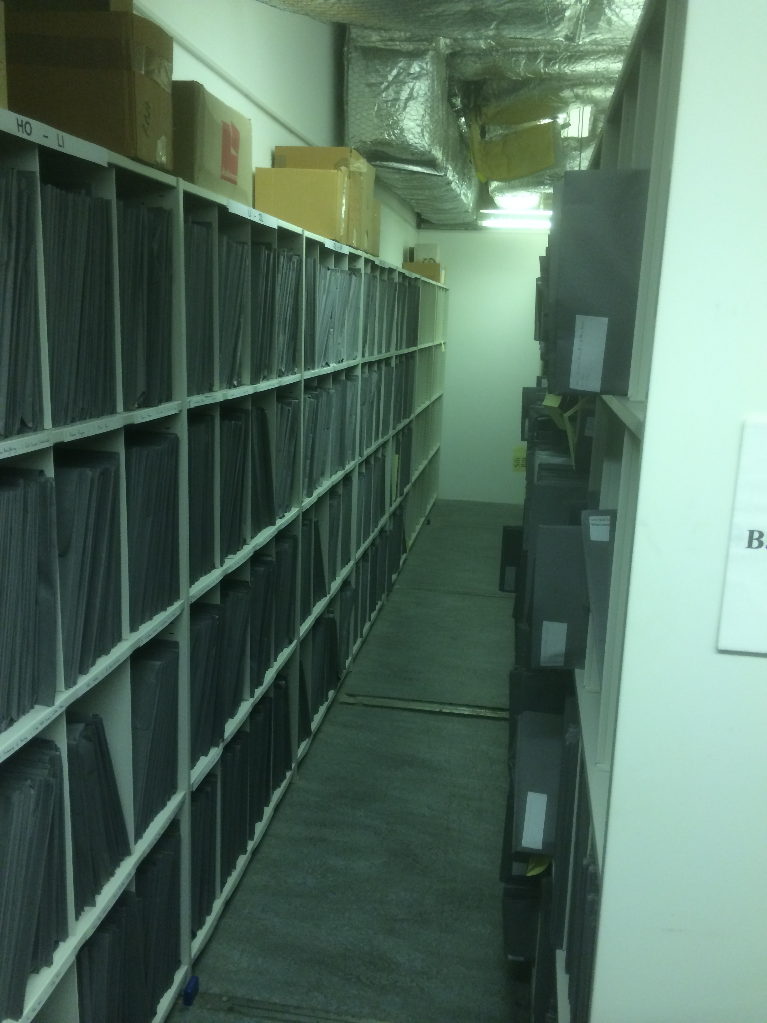 A wall of musical arrangements in the Jack Hylton Archive