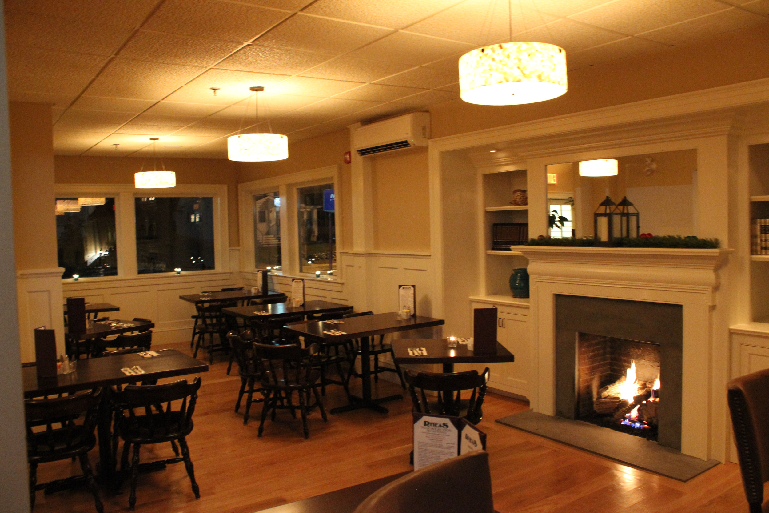 Our dining room is recently renovated and includes two working fireplaces.
