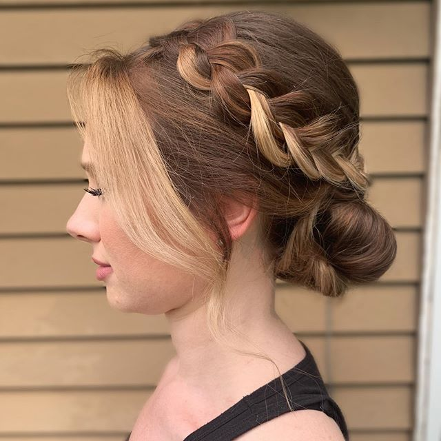 A braided textured bun from today's trial run.