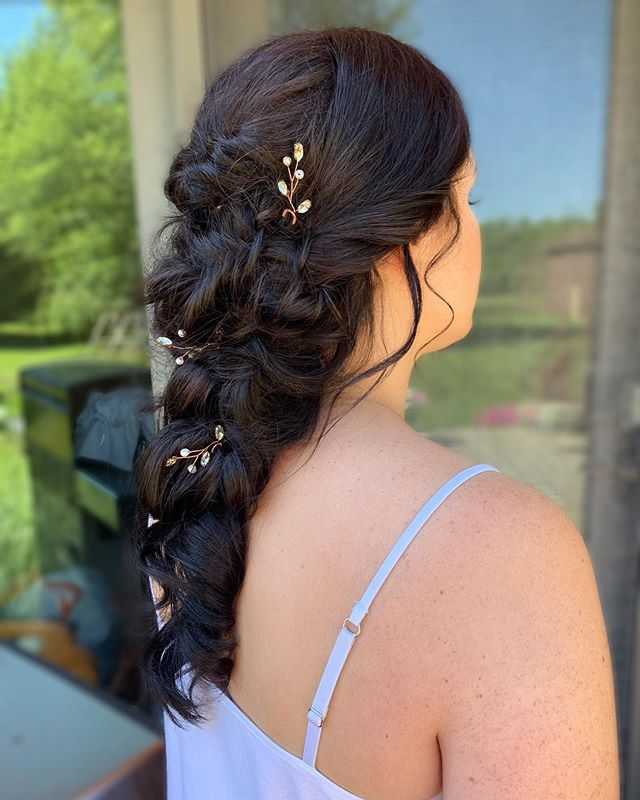 This is one of my favorite looks and so great for long haired brides! It's perfect for when you want the effect and look of having your hair down but it gives you longevity and hold!