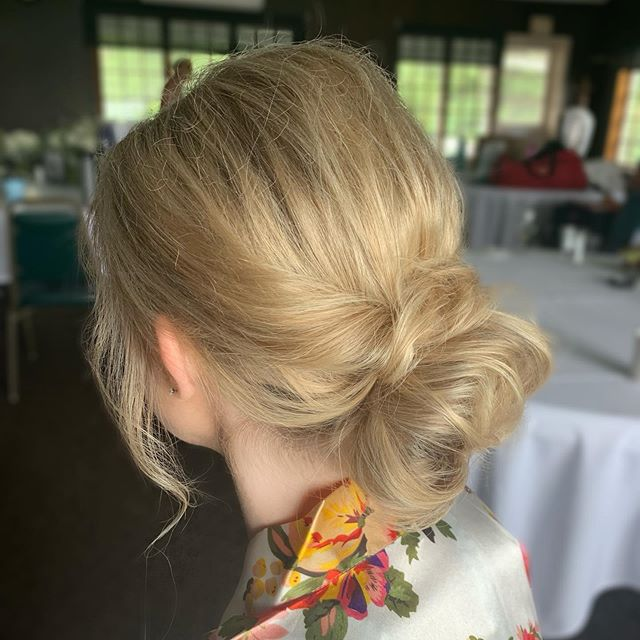 Jamie has pretty fine, thin hair and was a little worried we couldn't be able to achieve the volume and texture she was looking for without extensions. We were able to create this gorgeous textured bun for her wedding day with her own hair, no extensions required!