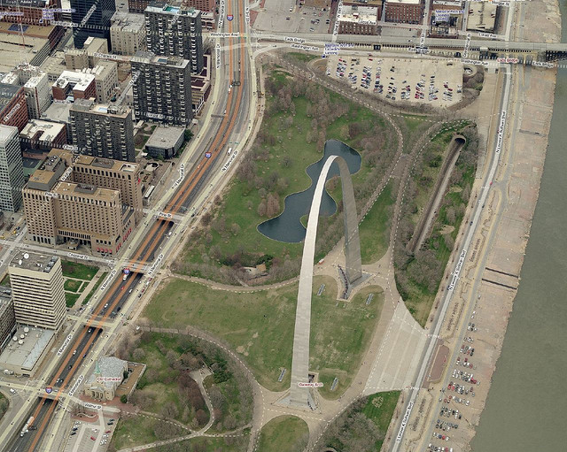 Aerial view of the Arch
