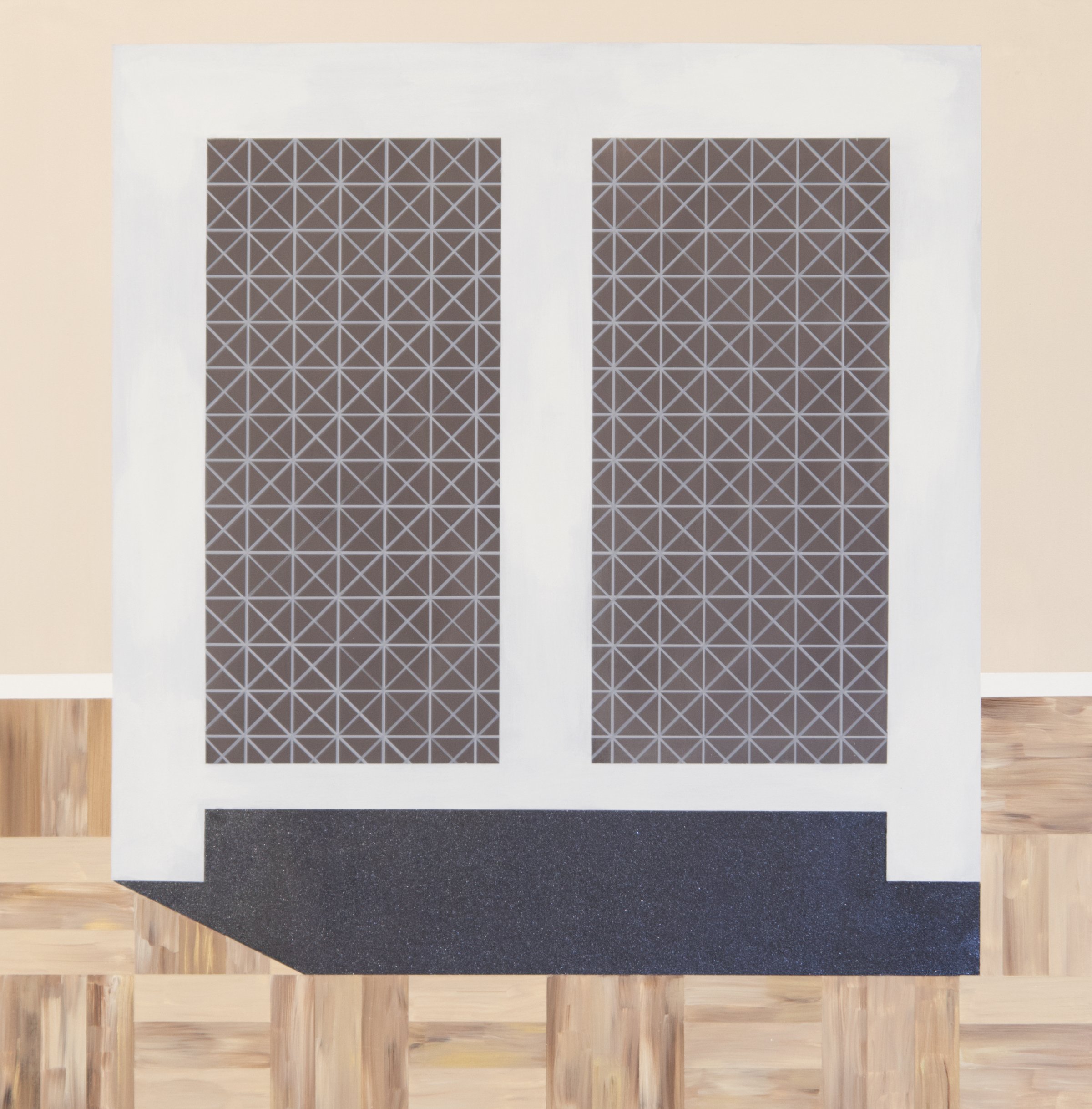 An excerpt from Ian Etter's essay:   Executed prior to Laube's time in Wales, the works comprising Glint investigate the theme of transformation. In Cormere, Laube only includes what is essential: A stoic radiator hovers above the floorboards and wall, fixed with a matching pair of rectangular vents. The viewer's gaze circles a matrix of lines forming a mesh-like structure, without breaking past the picture plane. Absence of spatial depth keeps us on the painting's surface. Embedded within the static, compressed perspective is a latent energy, capable of coalescing into three dimensions, like the closed pages of child's pop-up book.