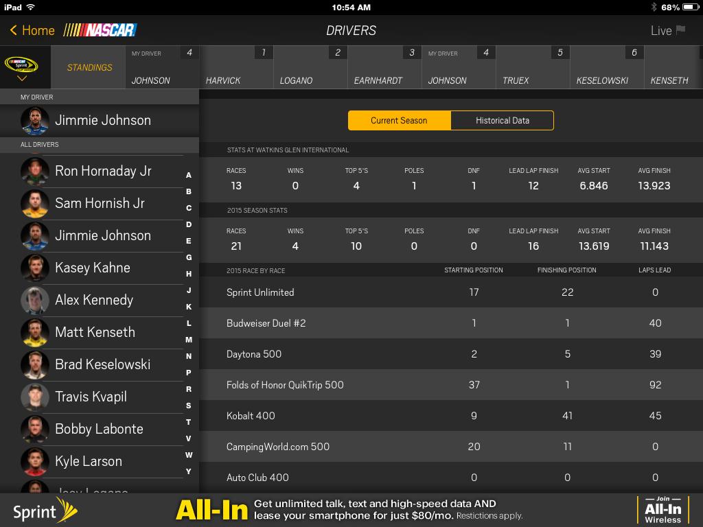 NASCAR Screen Shot Jimmie Johnson Stats.png