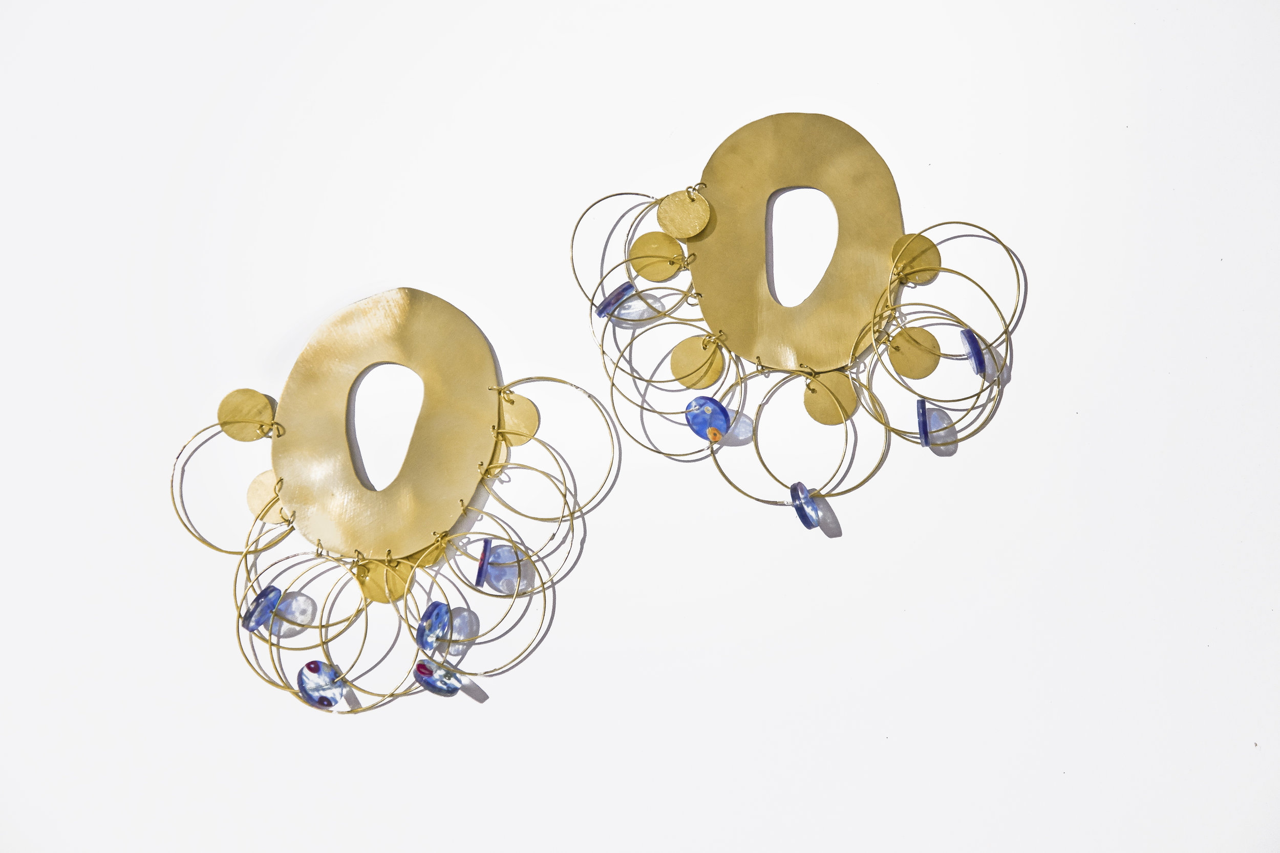 Disc Earrings in brass and blue sequin-embedded resin