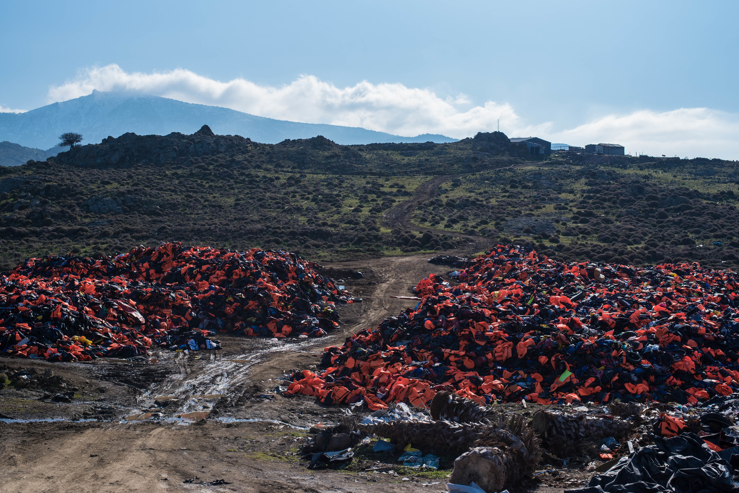 With every boat that comes in, the environmental impact of the refugee crisis becomes more pronounced. This hilltop near the town of Molyvos on Lesvos has become a makeshift dump for fake life jackets, deflated dinghies, and other debris.