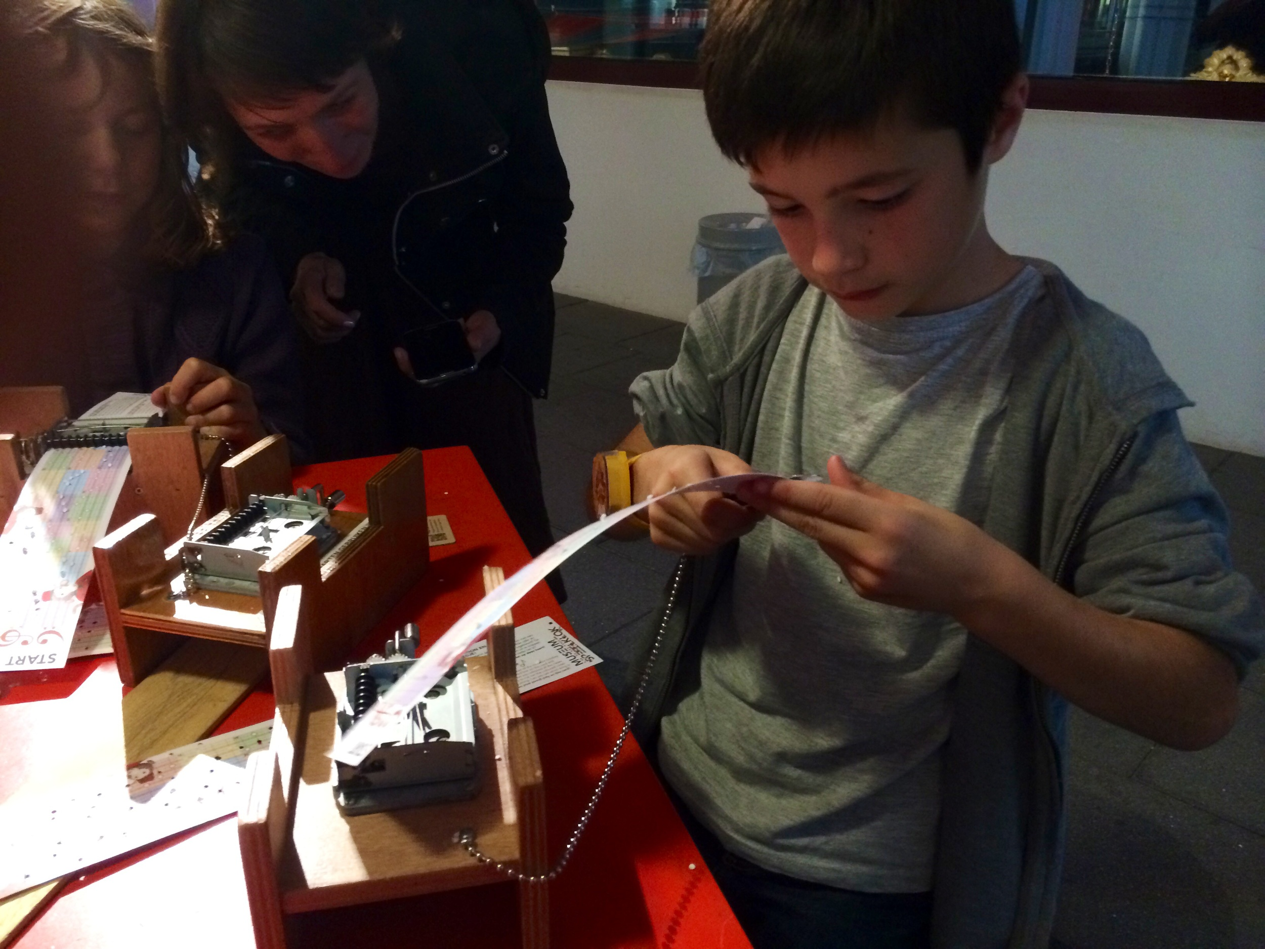 Making music at the music box museum.