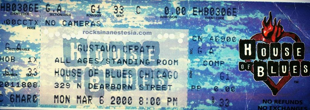 RECORDANDO EL CONCIERTO DE GUSTAVO CERATI en CHICAGO en HOUSE of BLUES en el año 2000