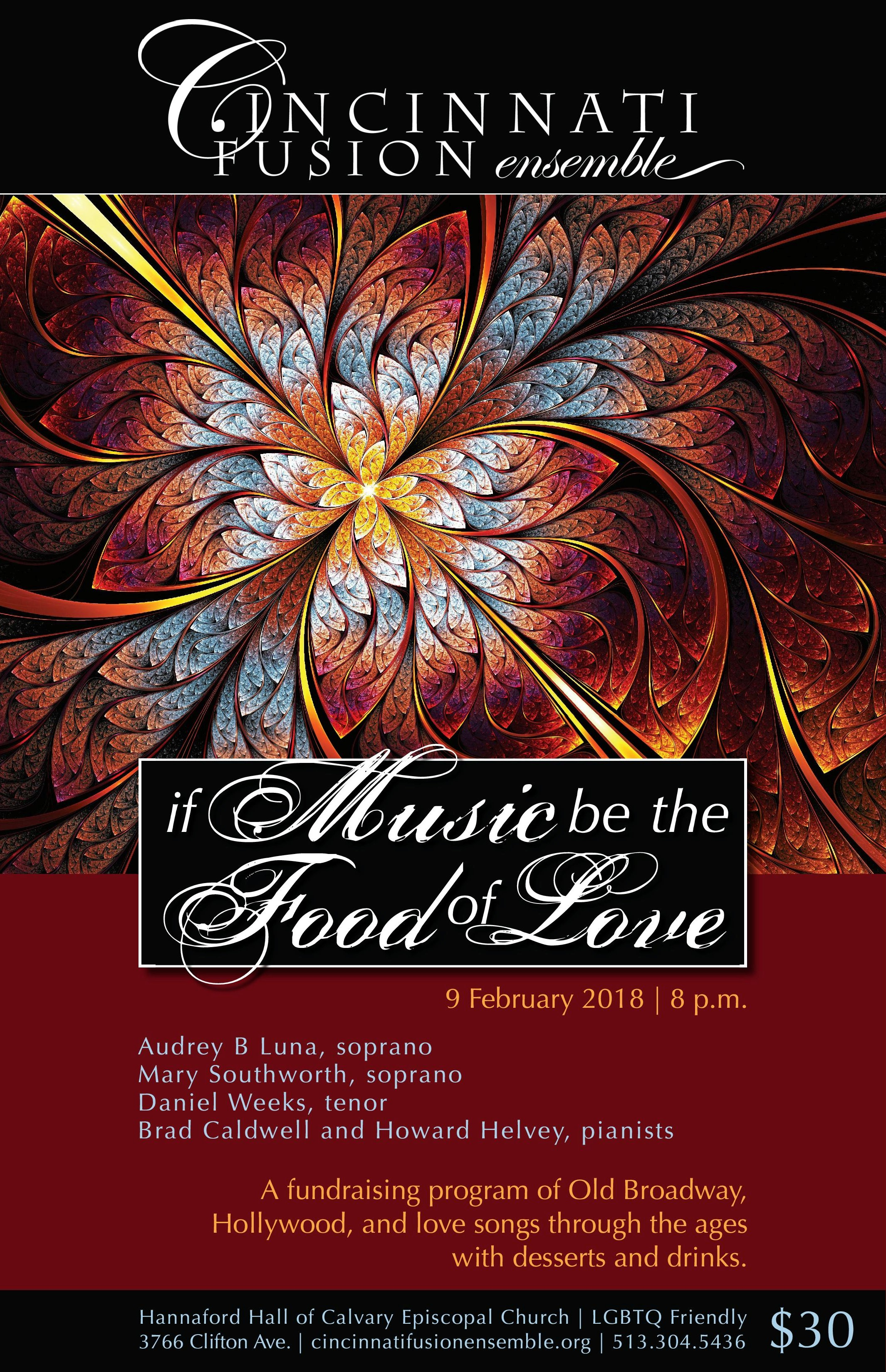 - Many of you have attended this Cincinnati Fusion Ensemble fundraiser in the past, and we are grateful! An RSVP (bectn@aol.com or text/voicemail to 513-304-4536) is helpful, but not necessary. We hope you'll join us for this fun evening on Friday, February 9, at 8 PM!Calvary Episcopal Church3766 Clifton AveCincinnati OH 45220