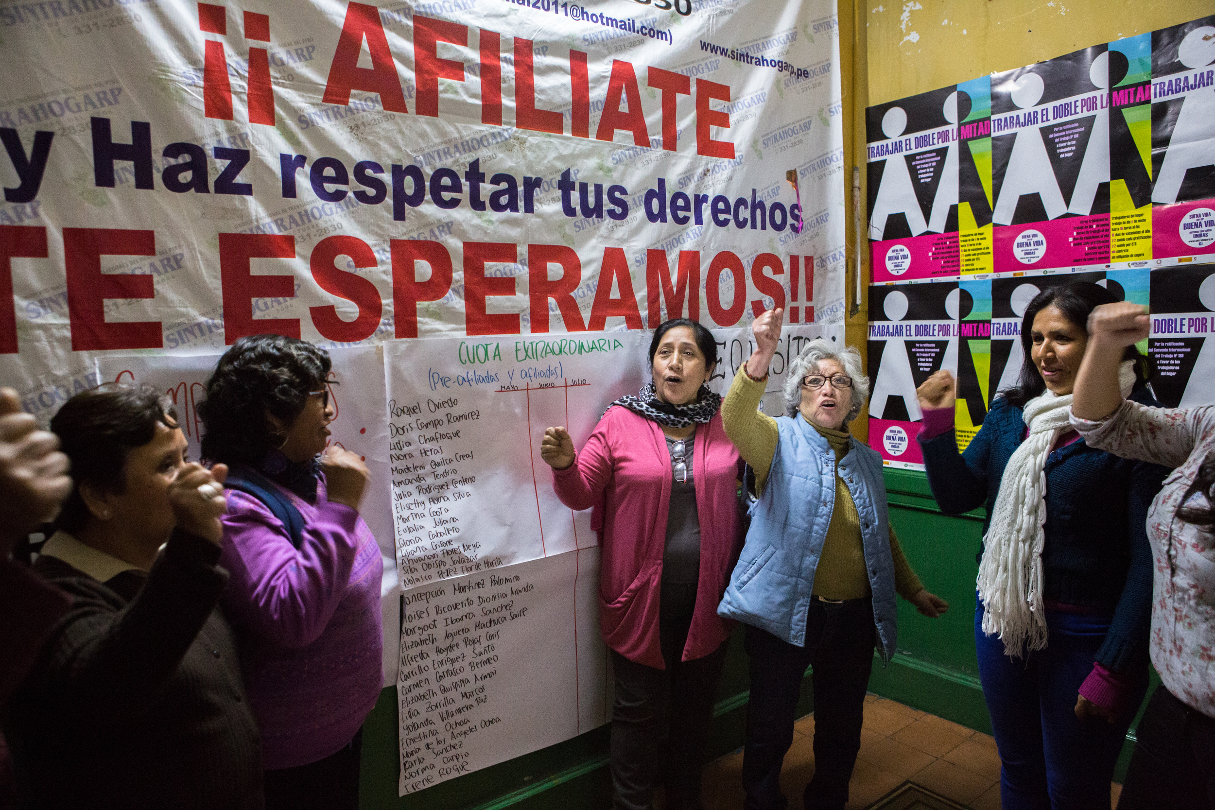 August 2, 2015. LIMA, PERU. Paulina Luza (Center) Secretary General of SINTRAHOGARP (Sindicato de Trabajadores del Hogar del Peru) at its headquarters with members of the organization. SINTRAHOGARP (Sindicato de Trabajadores del Hogar del Peru). SINTRAHOGARP is one of several organizations of informal workers in Lima that works closely with WIEGO (Women in Informal Employment: Globalizing and Organizing) in several initiatives, including to improve capacities of membership-based organizations through training in advocacy, communications, regulatory and legal frame work, occupational health and safety , and social inclusion campaigns. (Photo by Juan Arredondo/Reportage by Getty Images)