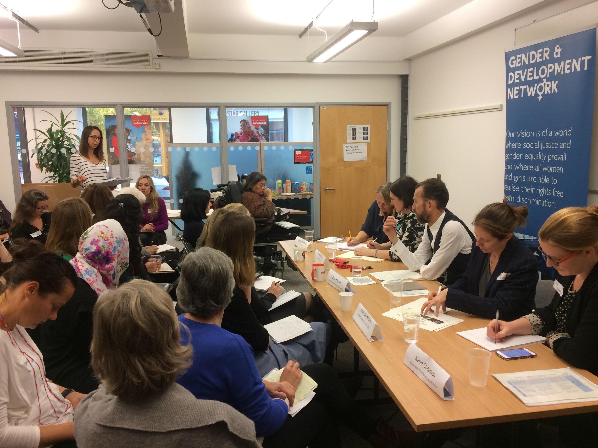 Panel and members at GADN Members meeting with DFID