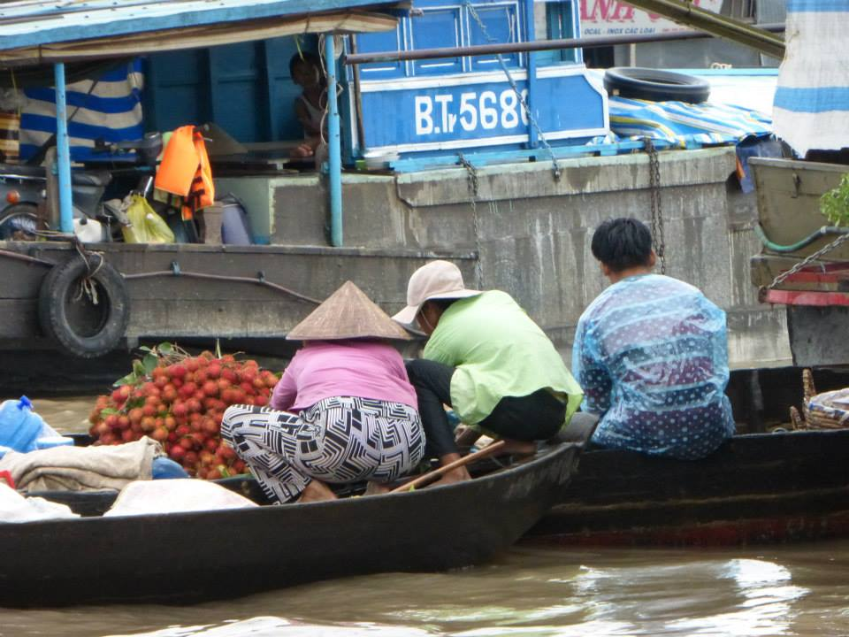 The floating market on the Mekong River. The farmers bring their produce and it is picked up by boat and taken to the mainland for distribution.