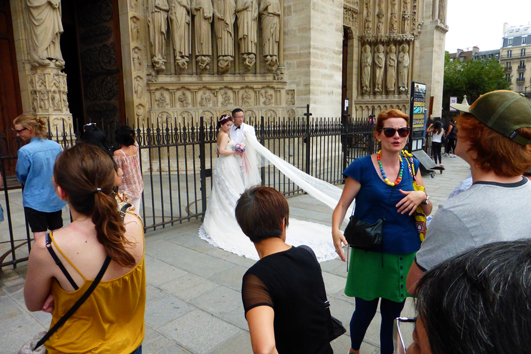 Celebrate your way. We saw two couples getting married in Paris. One occurred in front of Notre Dame Cathedral. Formal and lavish.