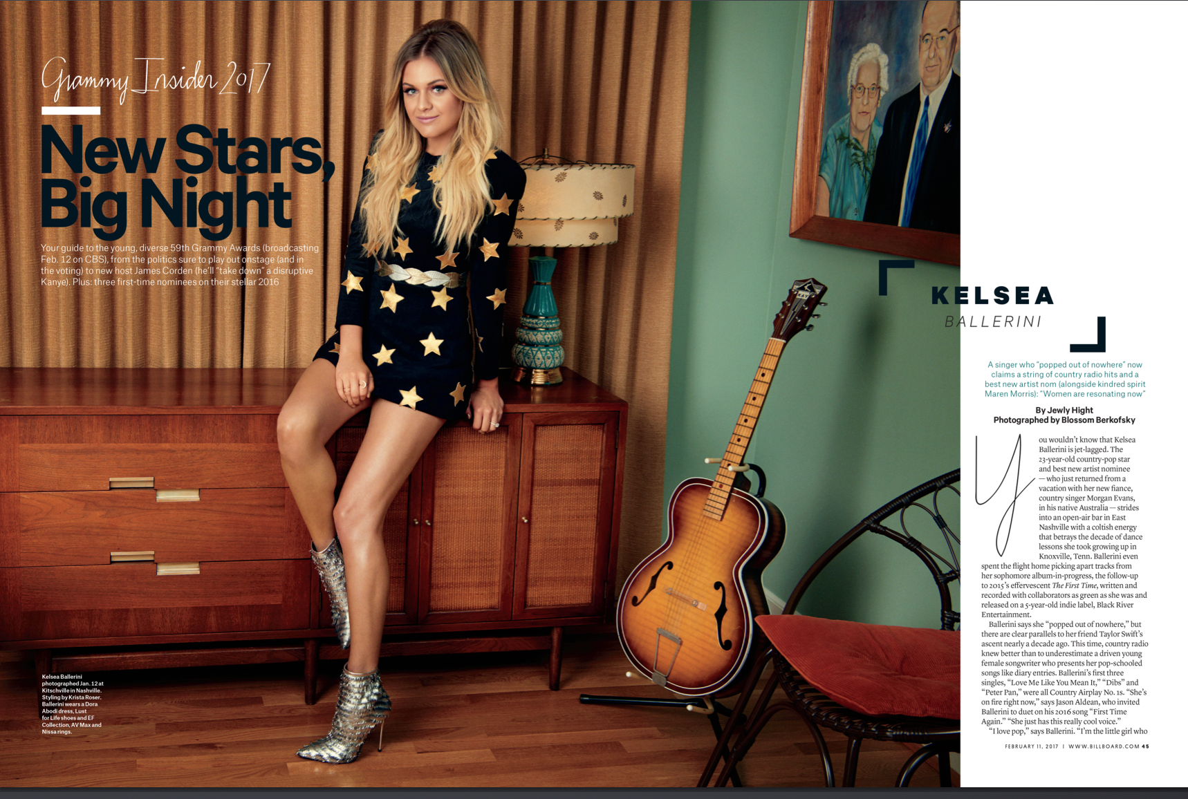 Kelsea Ballerini, Billboard Cover Shoot, Feb. 2017