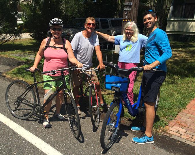 Carol, Mark, Kathy and Countri Bike in sunnier times