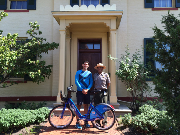 Countri Bike and NPS Ranger Jason in front of the Taft House