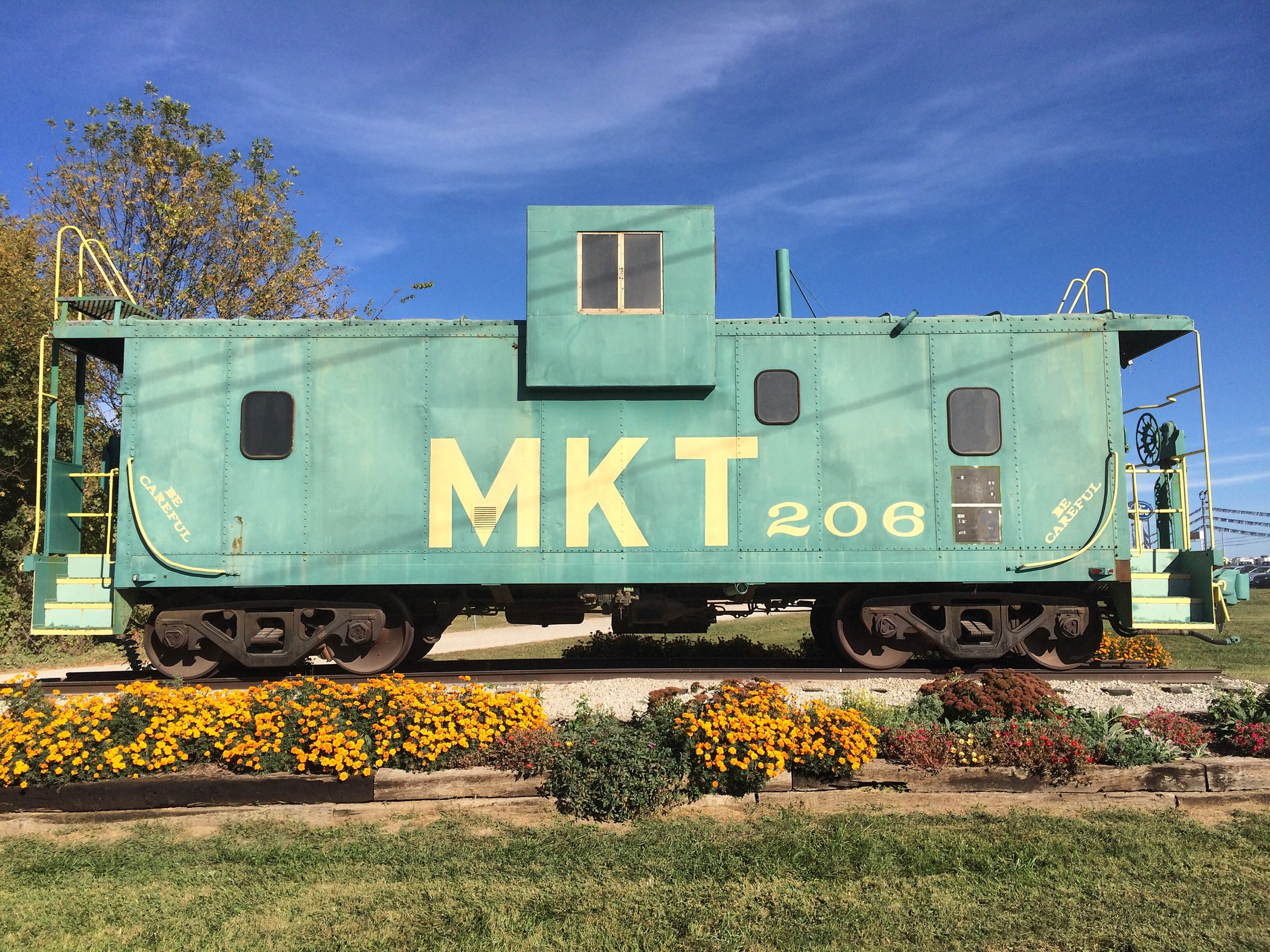 End of the line: this MKT (Katy) Railroad caboose sits at the trailhead in Clinton, 225 miles southwest from where I started the trail in St. Charles.