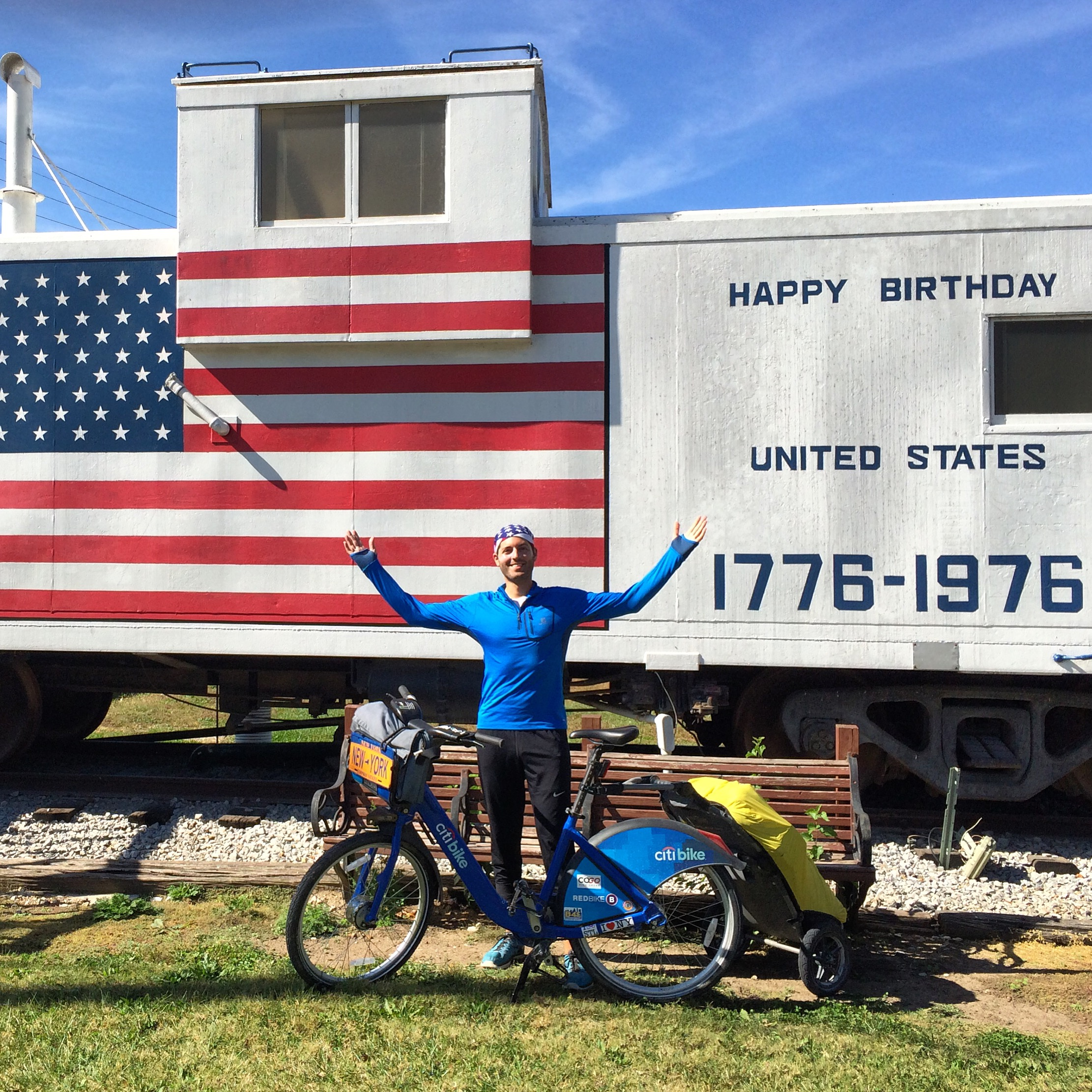 This patriotic paint job on a Katy Line caboose at Windsor Depot is 16.6 miles from the trail's end in Clinton.