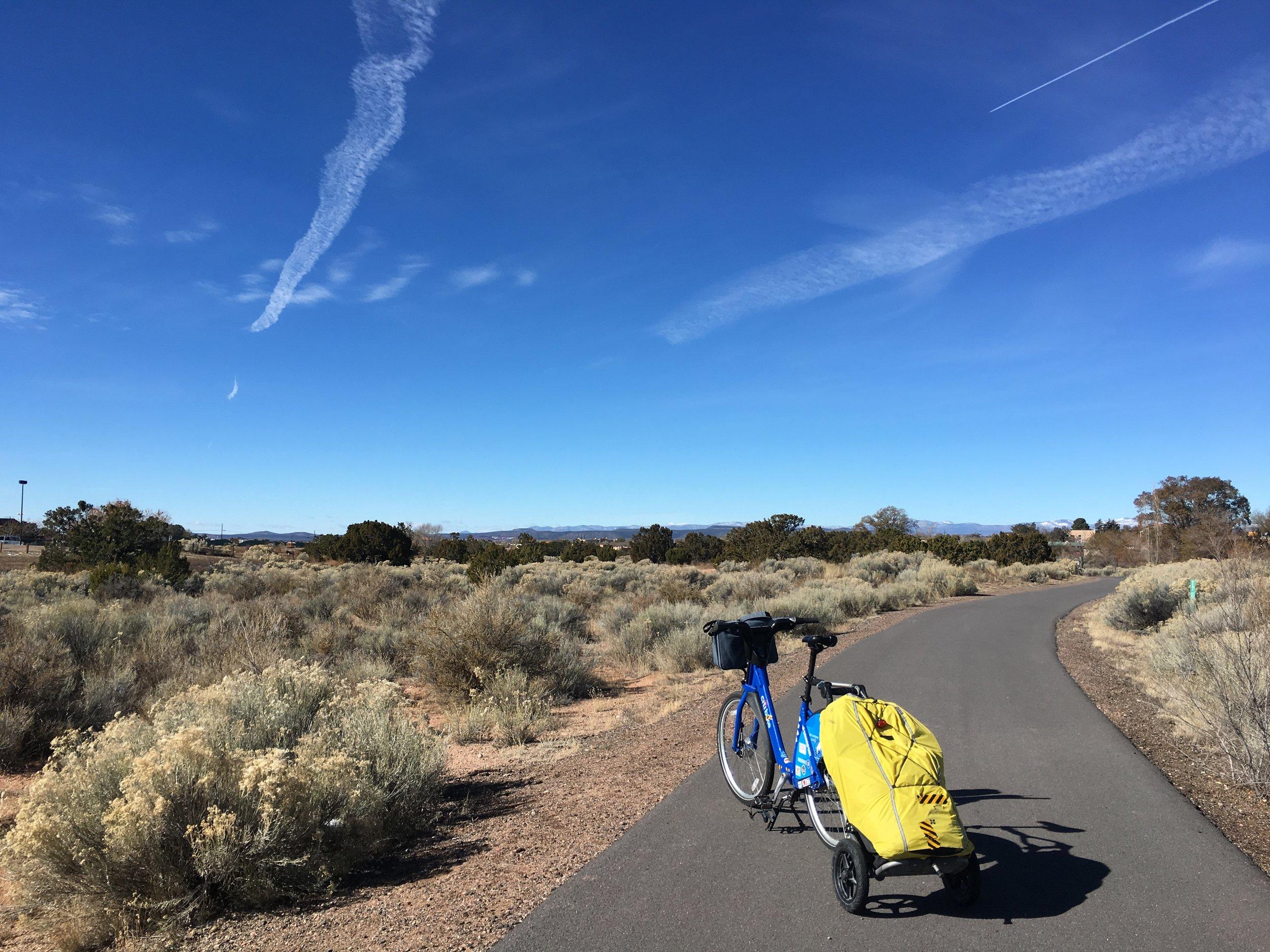 Leaving Santa Fe on a bike trail
