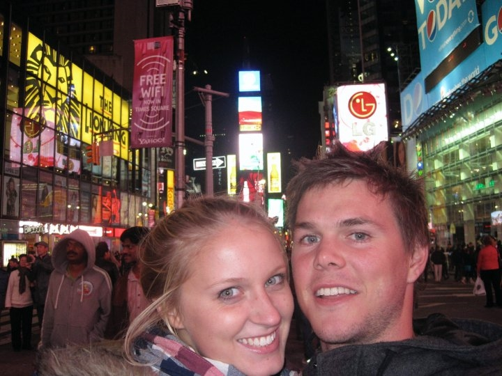 Freezing our eyeballs off exploring Times Square.