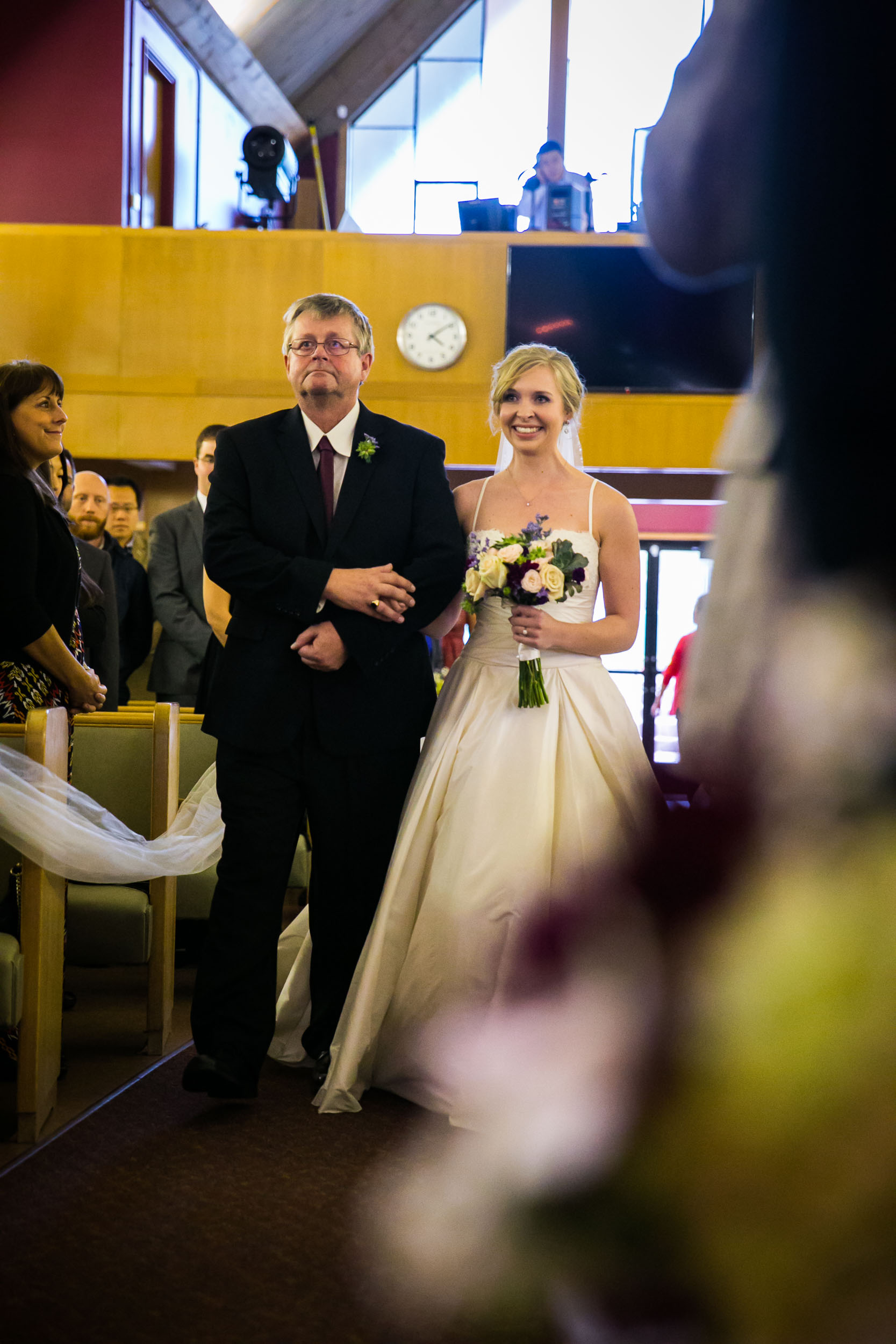 Seattle Community Church Wedding Photography | By G. Lin Photography | Bride walking down aisle