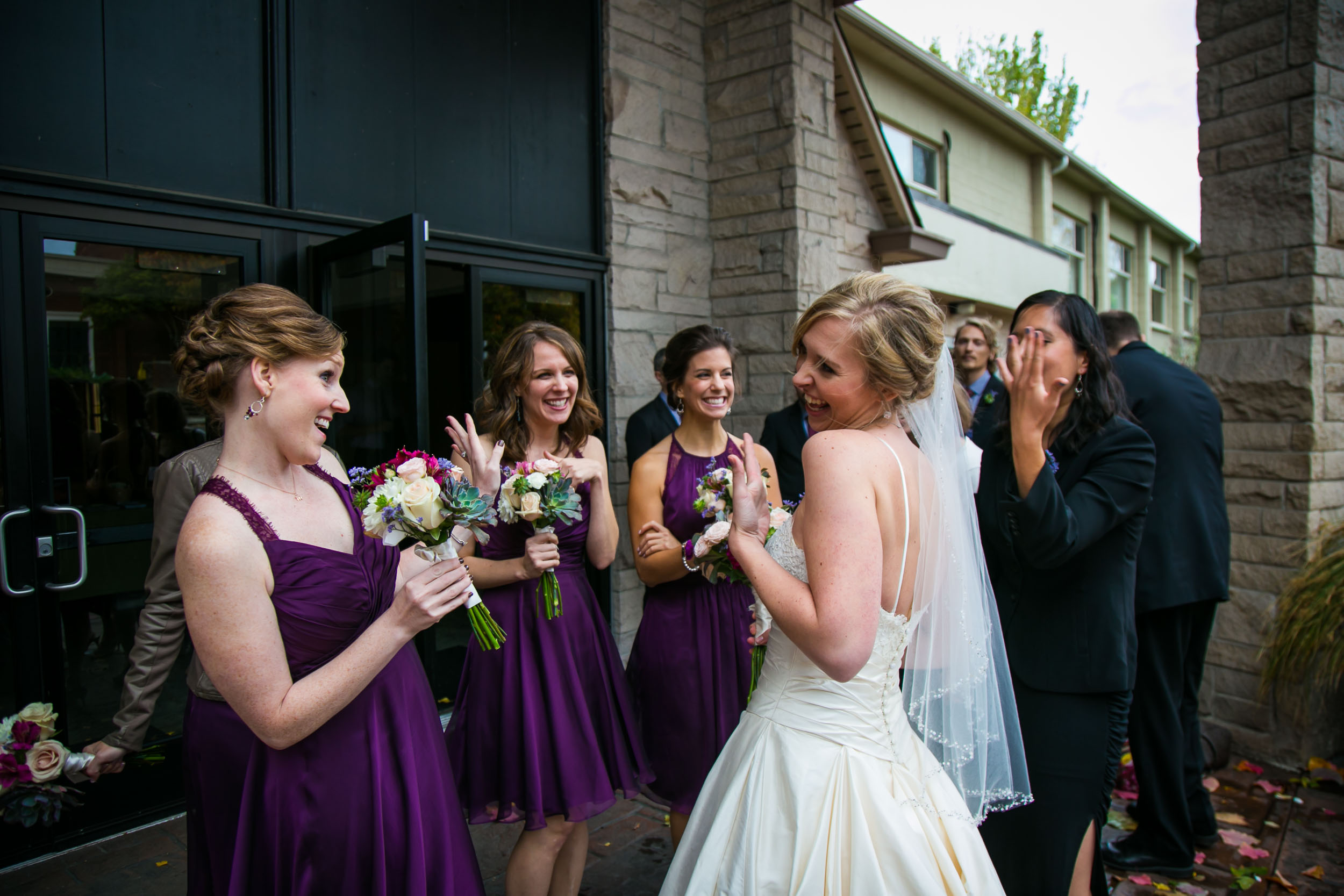 Seattle Community Church Wedding Photography | By G. Lin Photography | Bride happy with bridesmaids