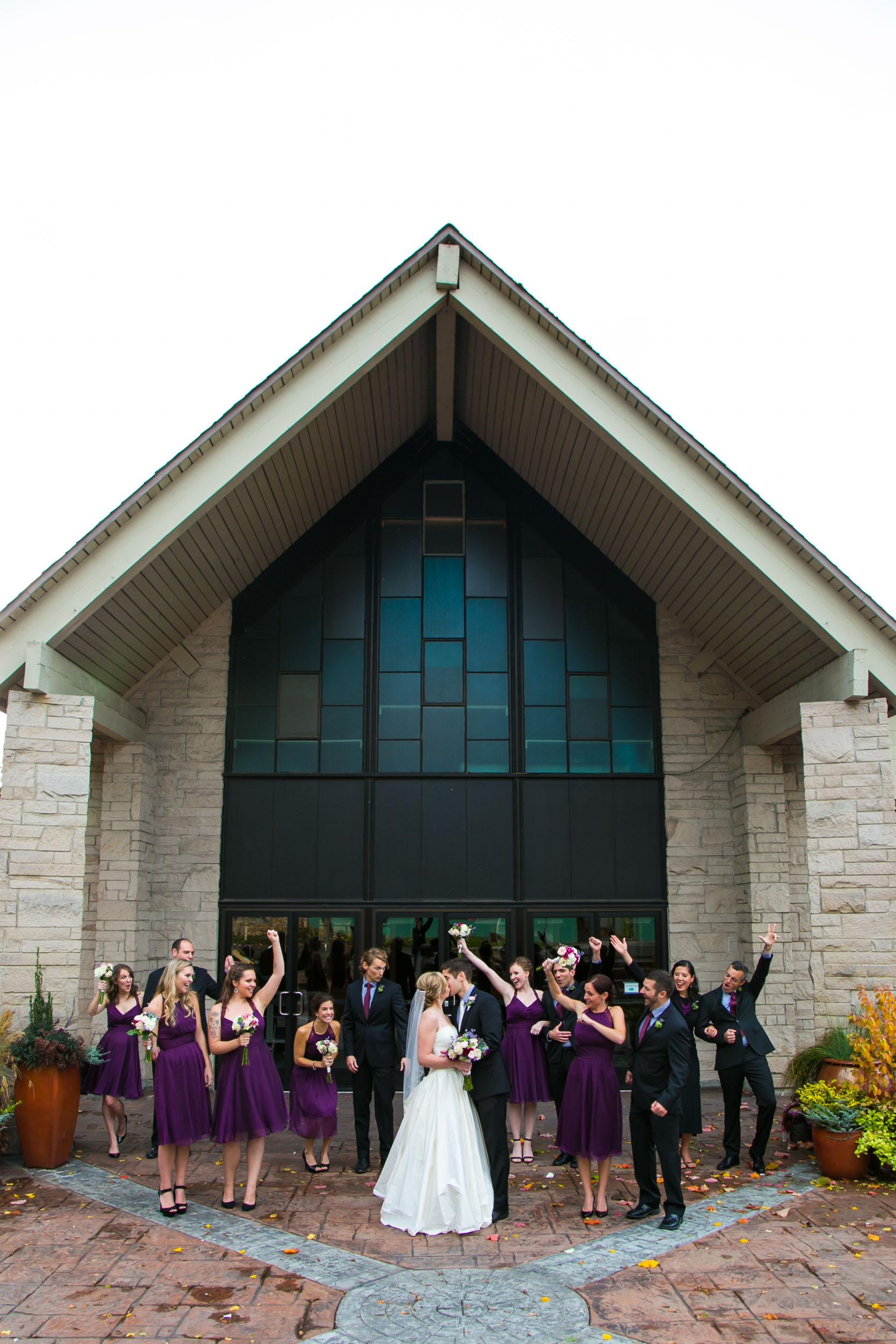 Seattle Community Church Wedding Photography | By G. Lin Photography | Fun wedding party photo