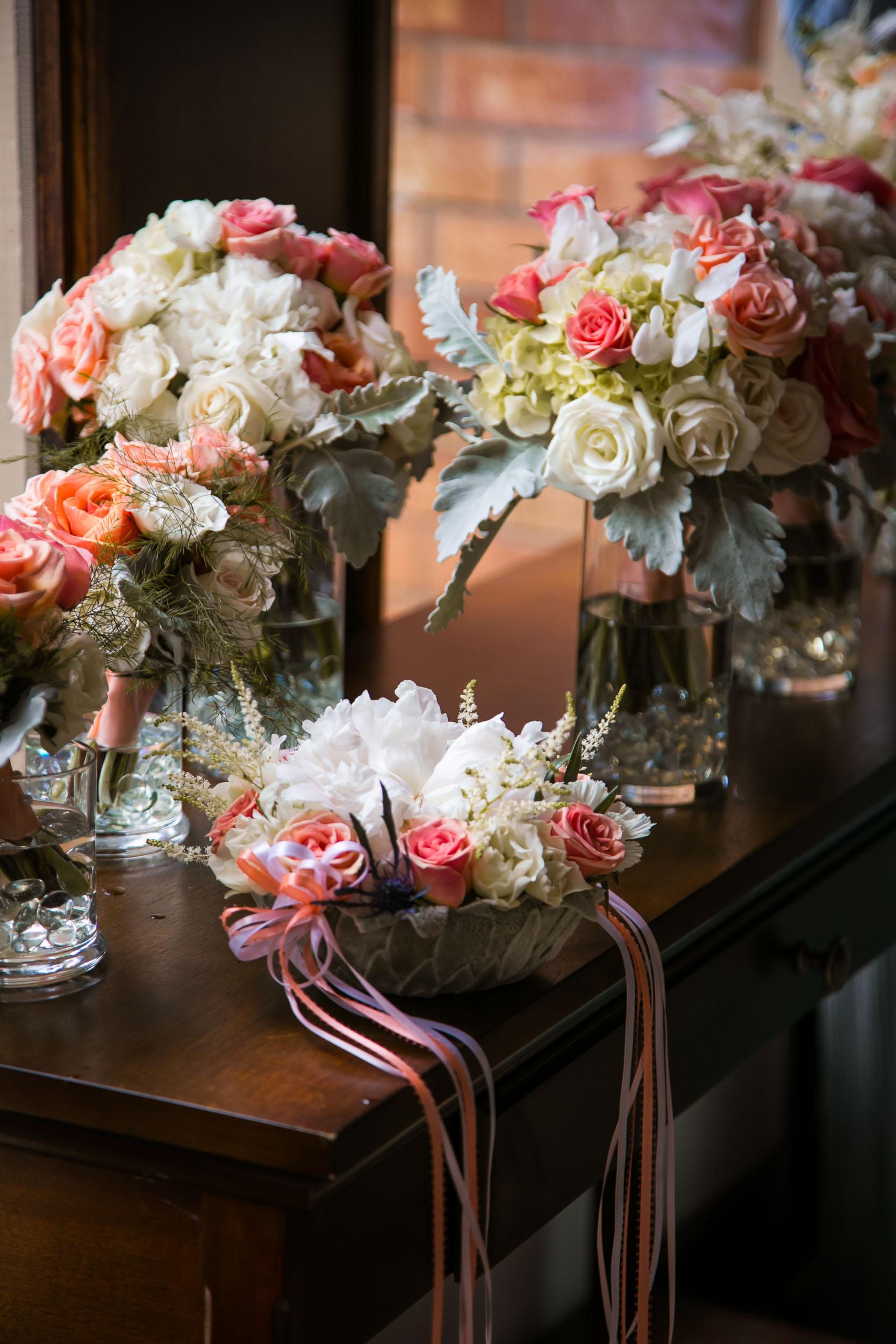 Raleigh Wedding Photographer | G. Lin Photography | Flower arrangement on table at church