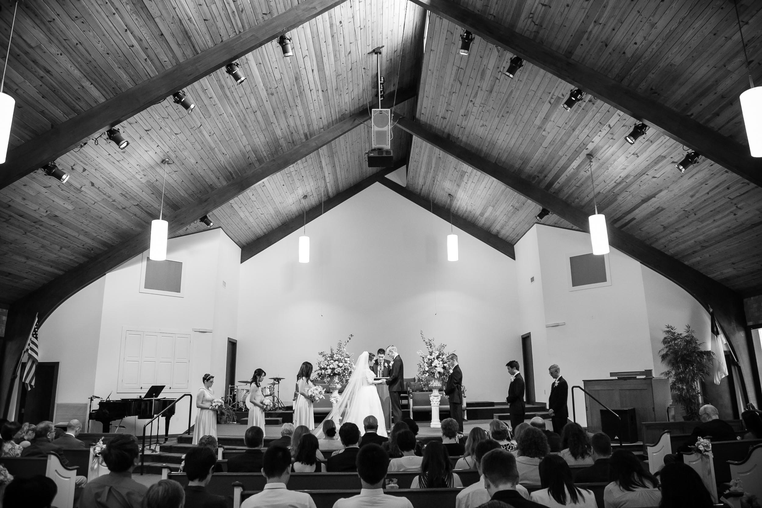 Campbell Lodge Wedding Photography | G. Lin Photography | Wide shot of church during wedding ceremony