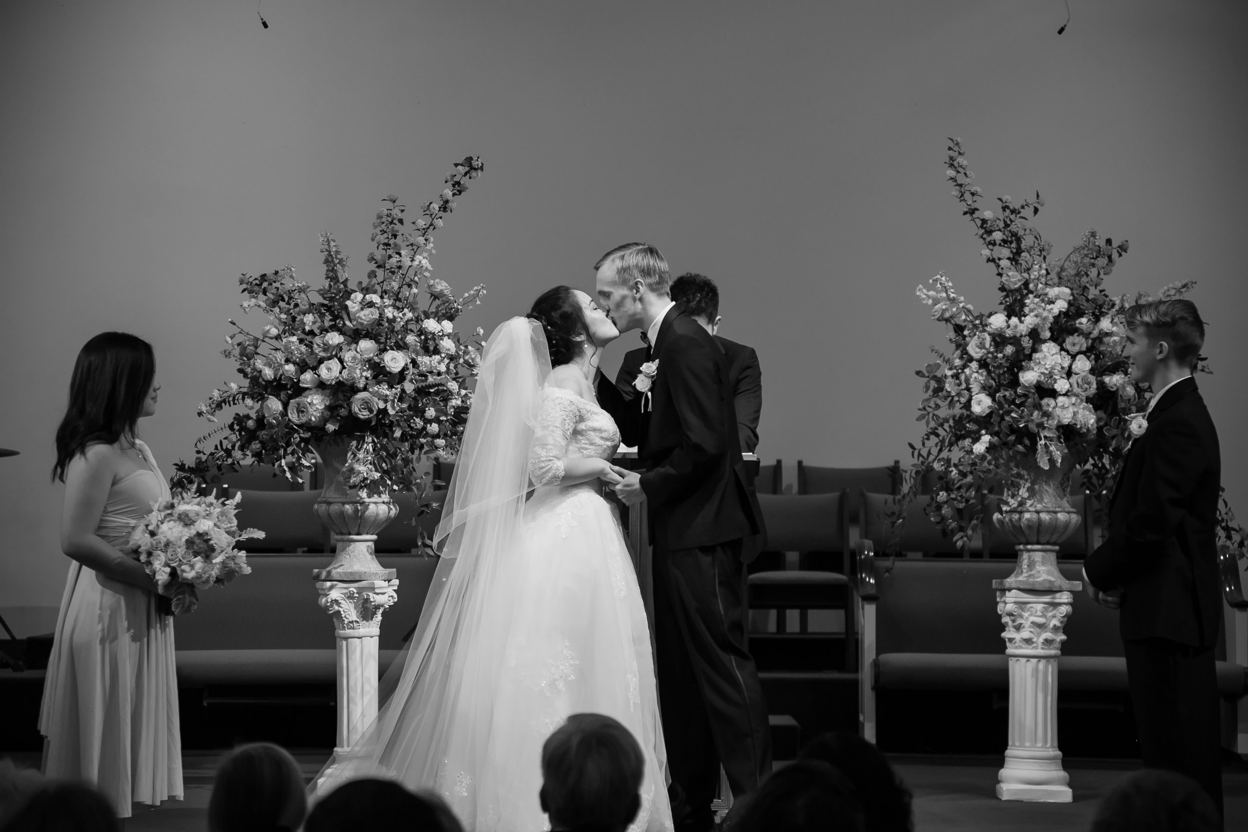 Raleigh Wedding Photographer | G. Lin Photography | Bride and groom's first kiss