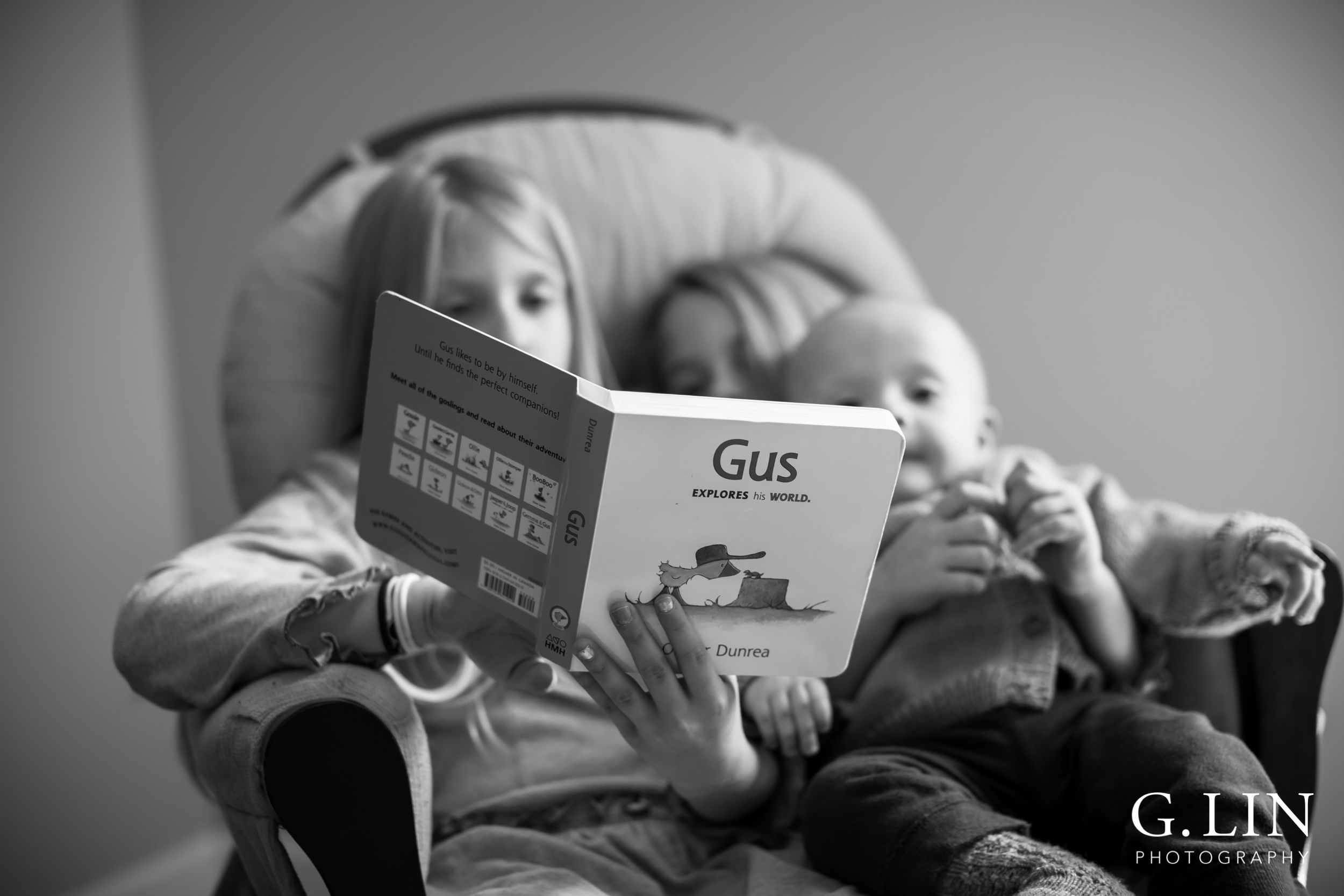 Raleigh Family Photographer   G. Lin Photography   Children sitting on chair and reading to little brother