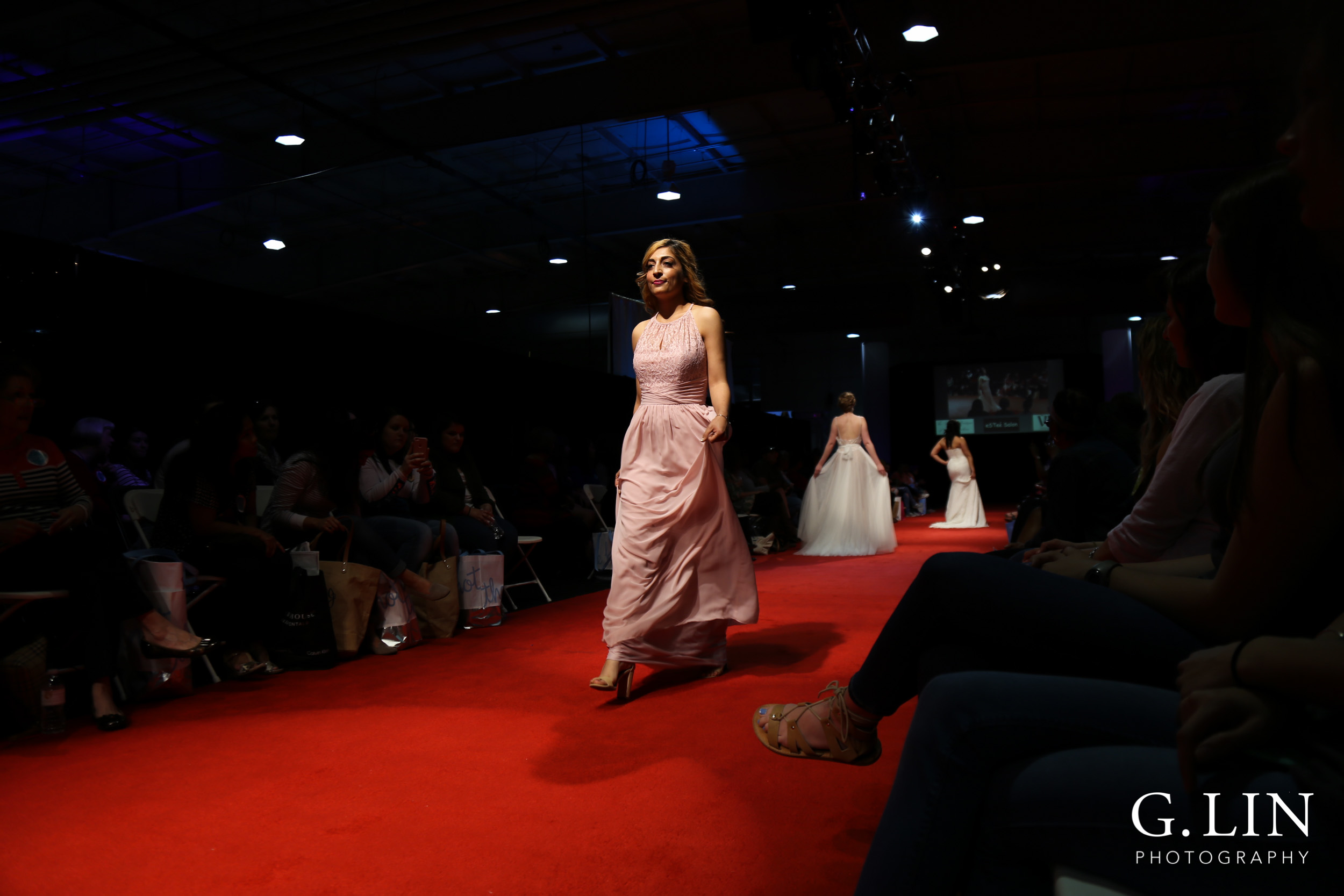 Raleigh Event Photographer | G. Lin Photography | Model wearing bridesmaid gown and walking down the runway