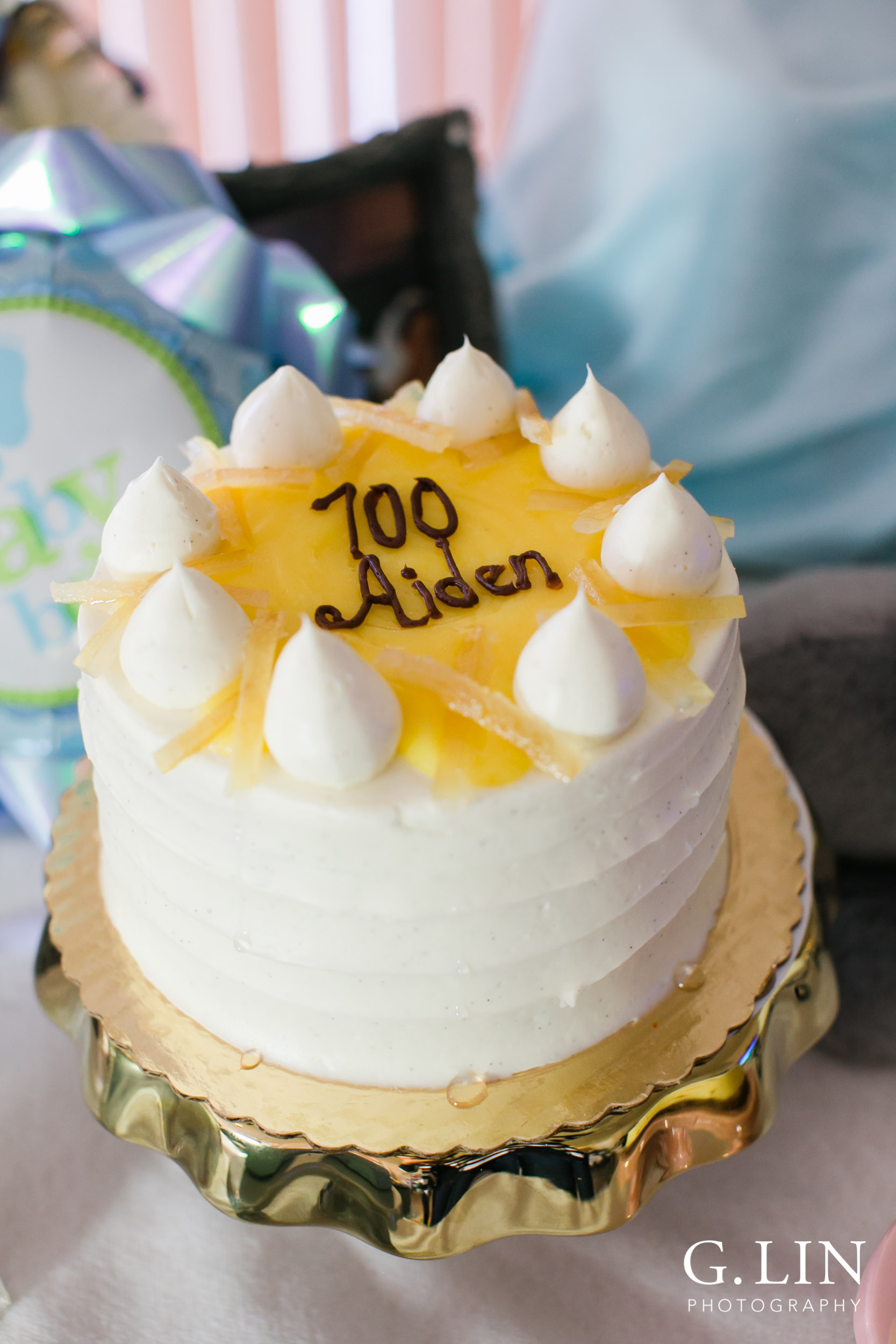 Durham Family Photographer | G. Lin Photography | Close up shot of birthday cake for baby