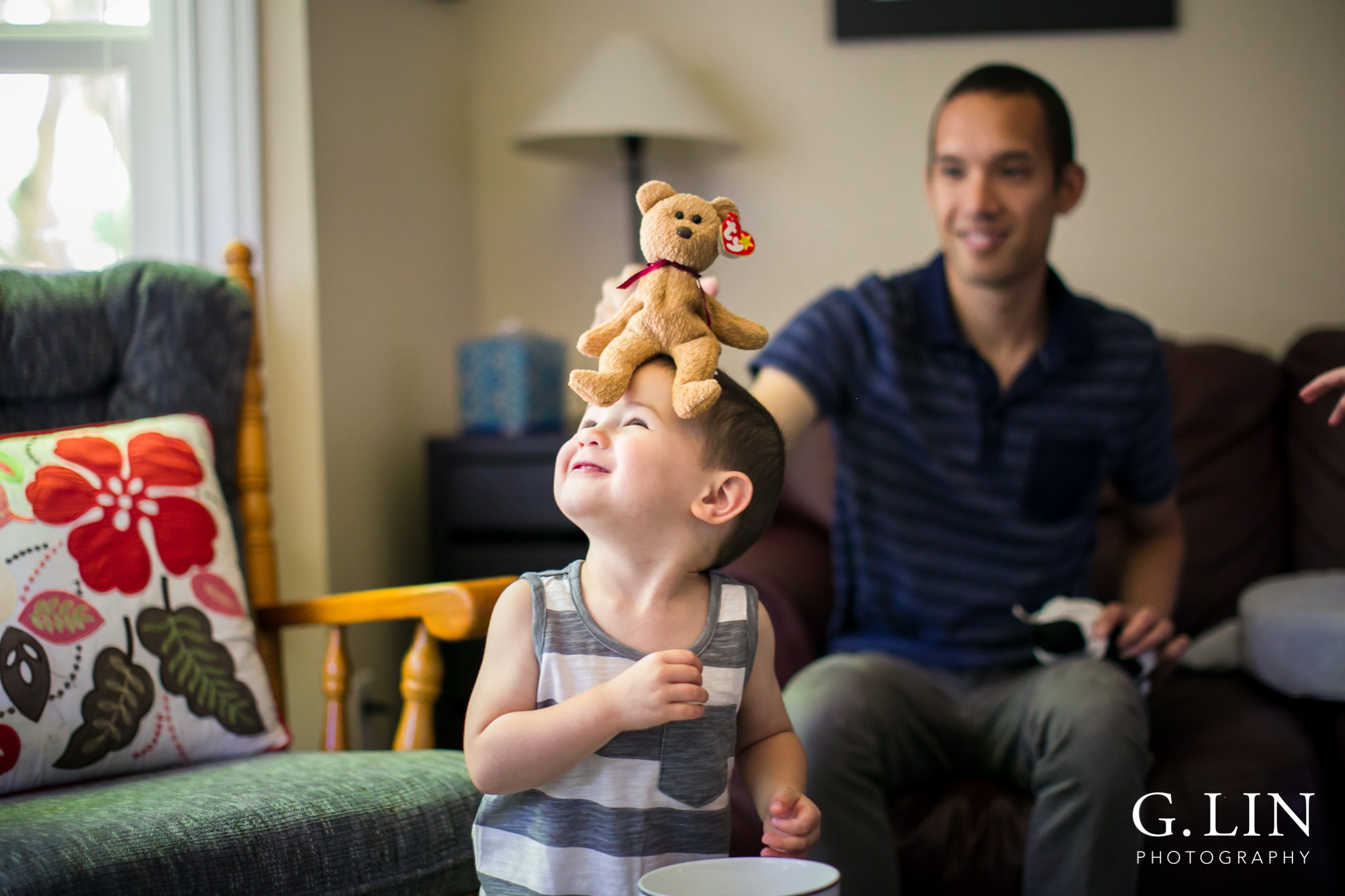 Raleigh Family Photographer | G. Lin Photography | Children laughing and playing in living room