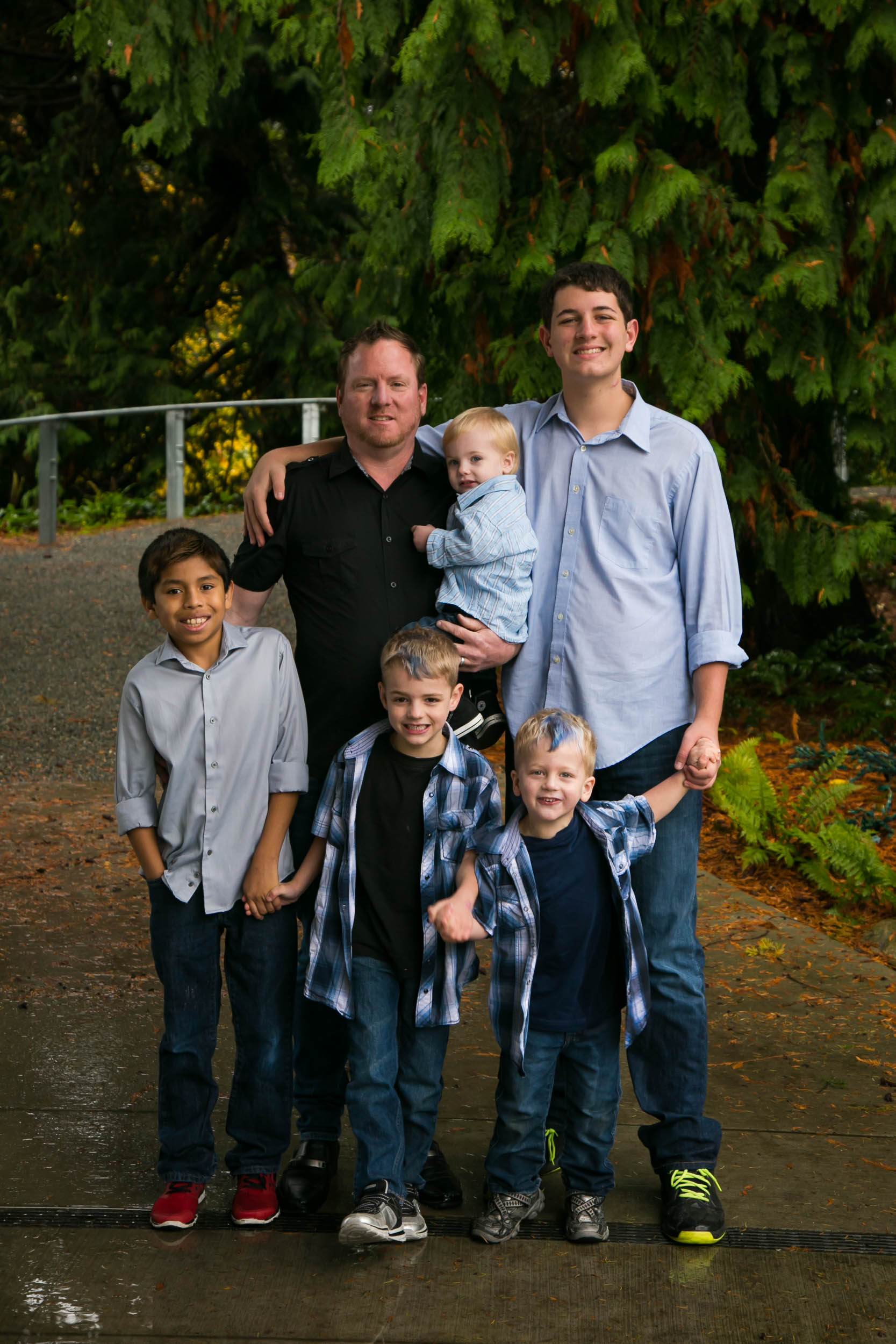 A father and his five sons! We had the little ones hold hands to help them stay together for a few seconds. Photo was taken in Seattle, WA.