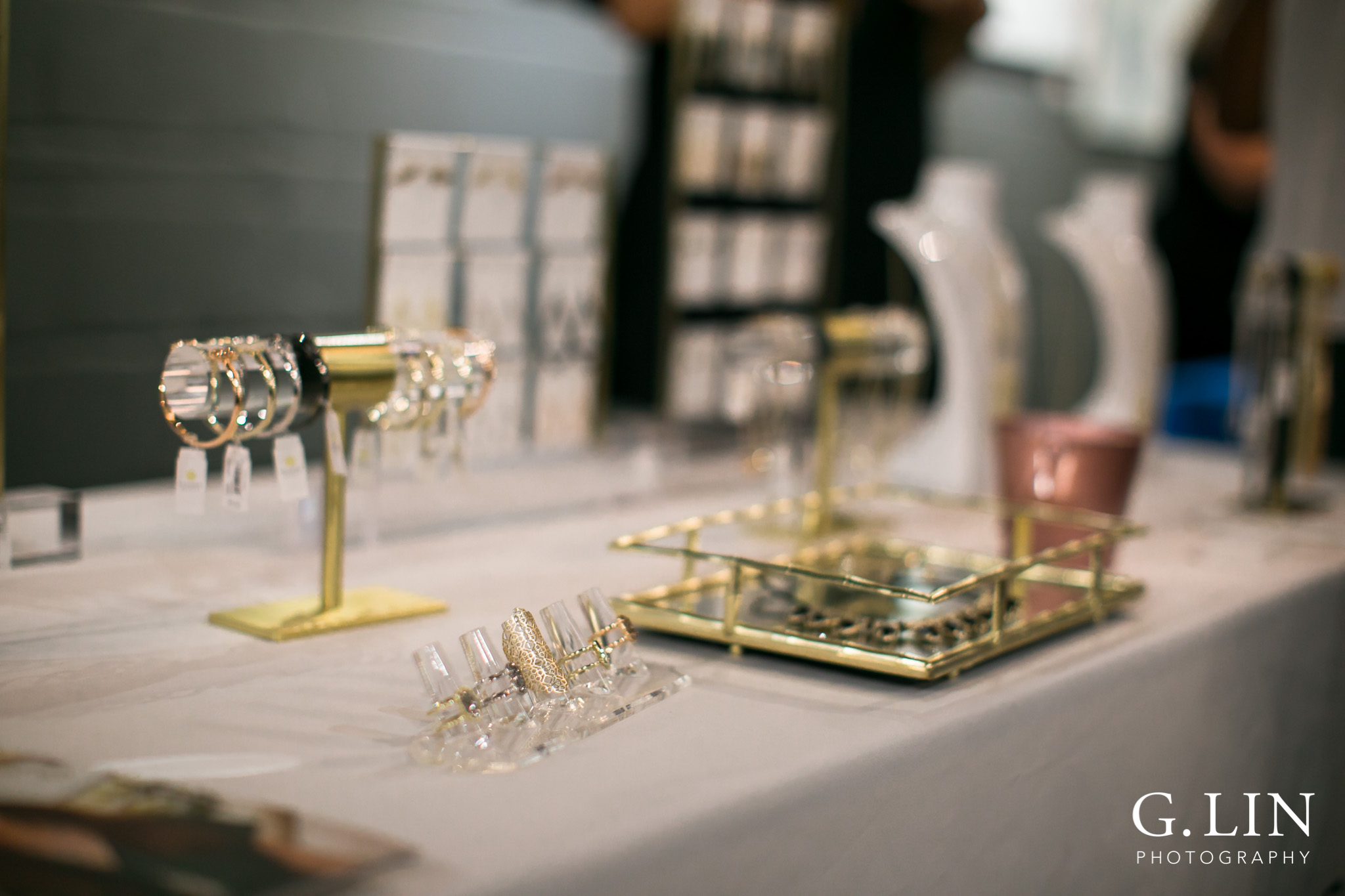 Raleigh Event Photographer | G. Lin Photography | Close up of jewelry on table